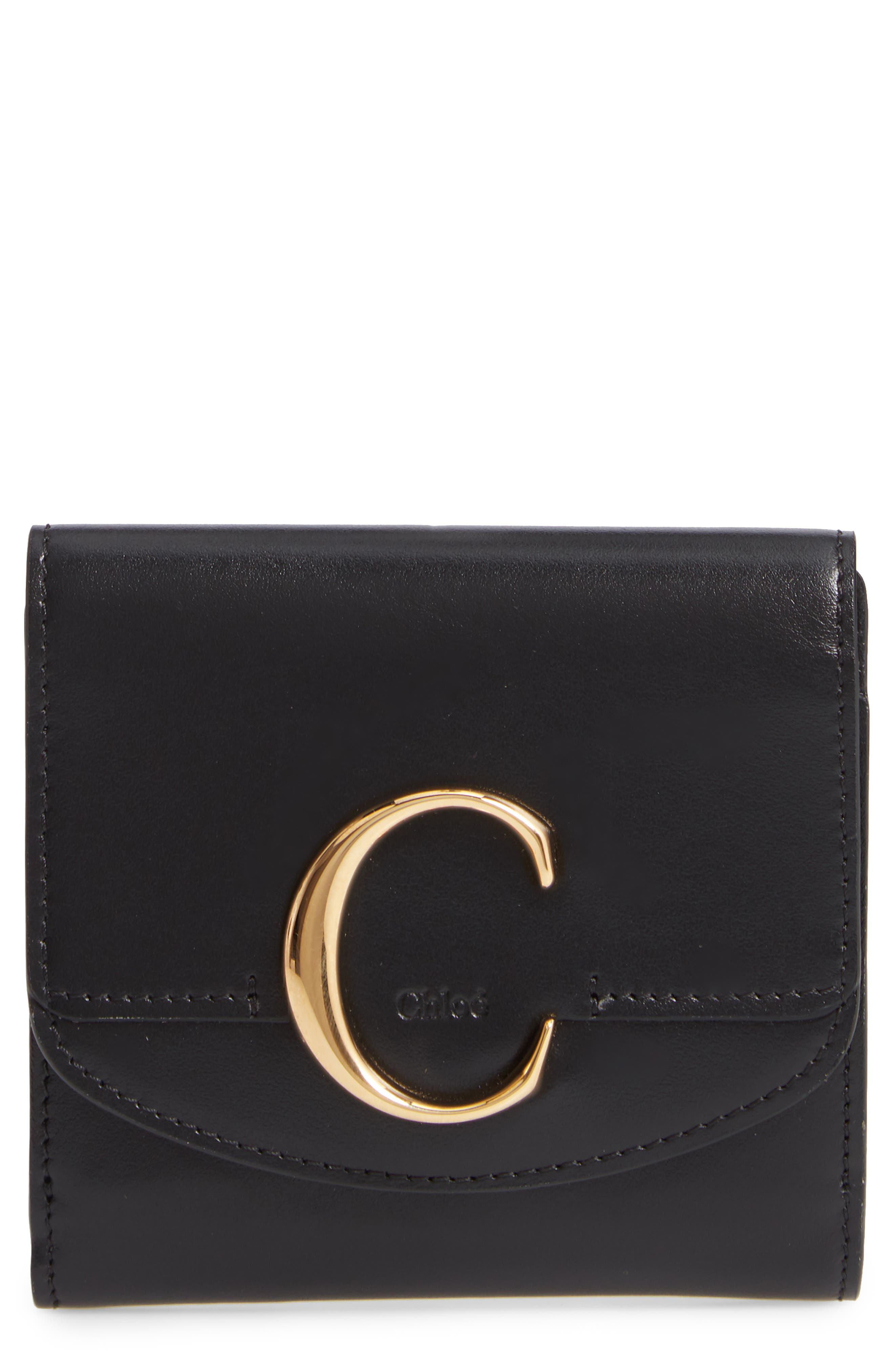 CHLOÉ Square Leather Wallet, Main, color, BLACK
