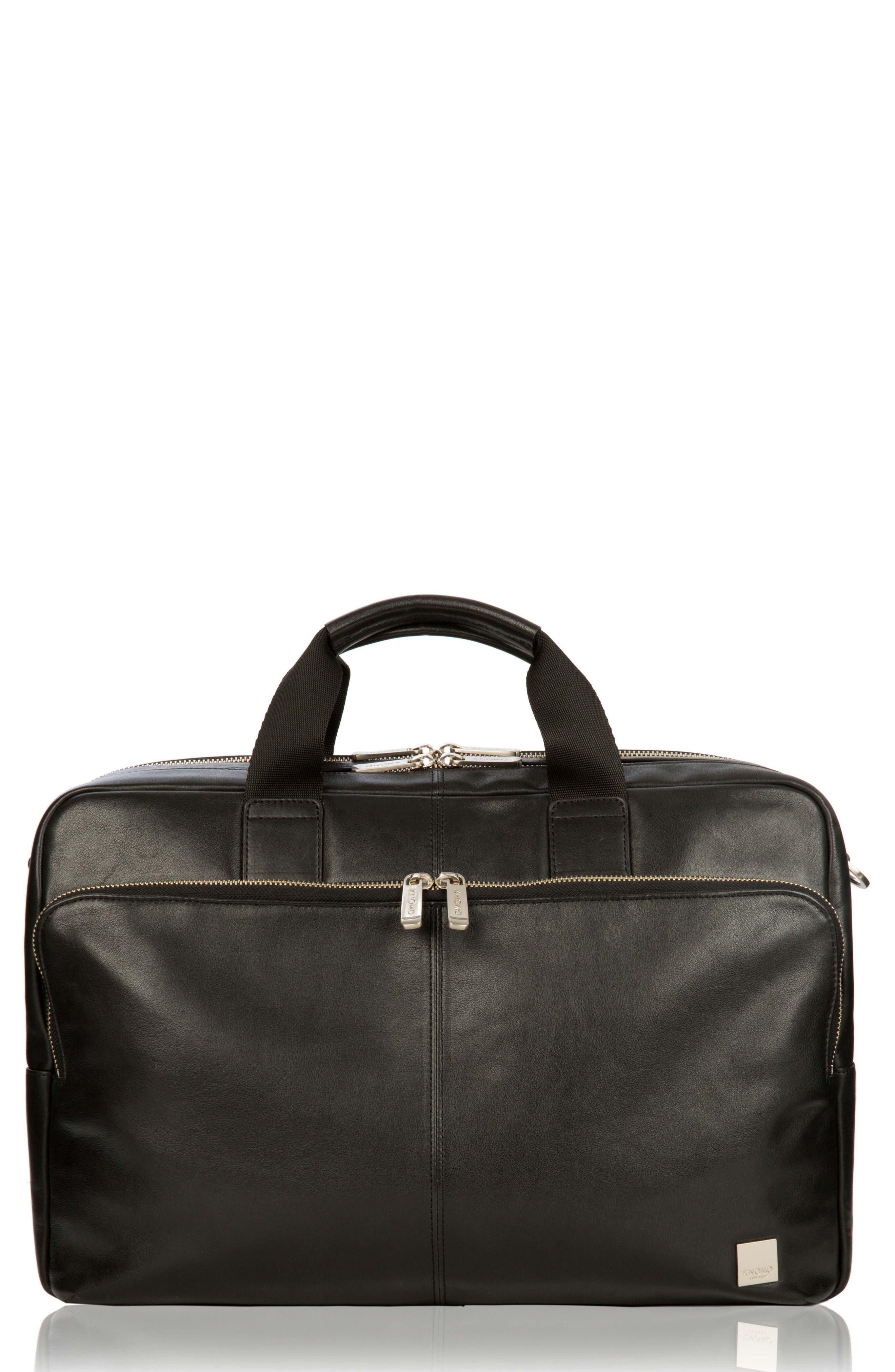 KNOMO LONDON,                             Brompton Amesbury Leather Briefcase,                             Main thumbnail 1, color,                             001