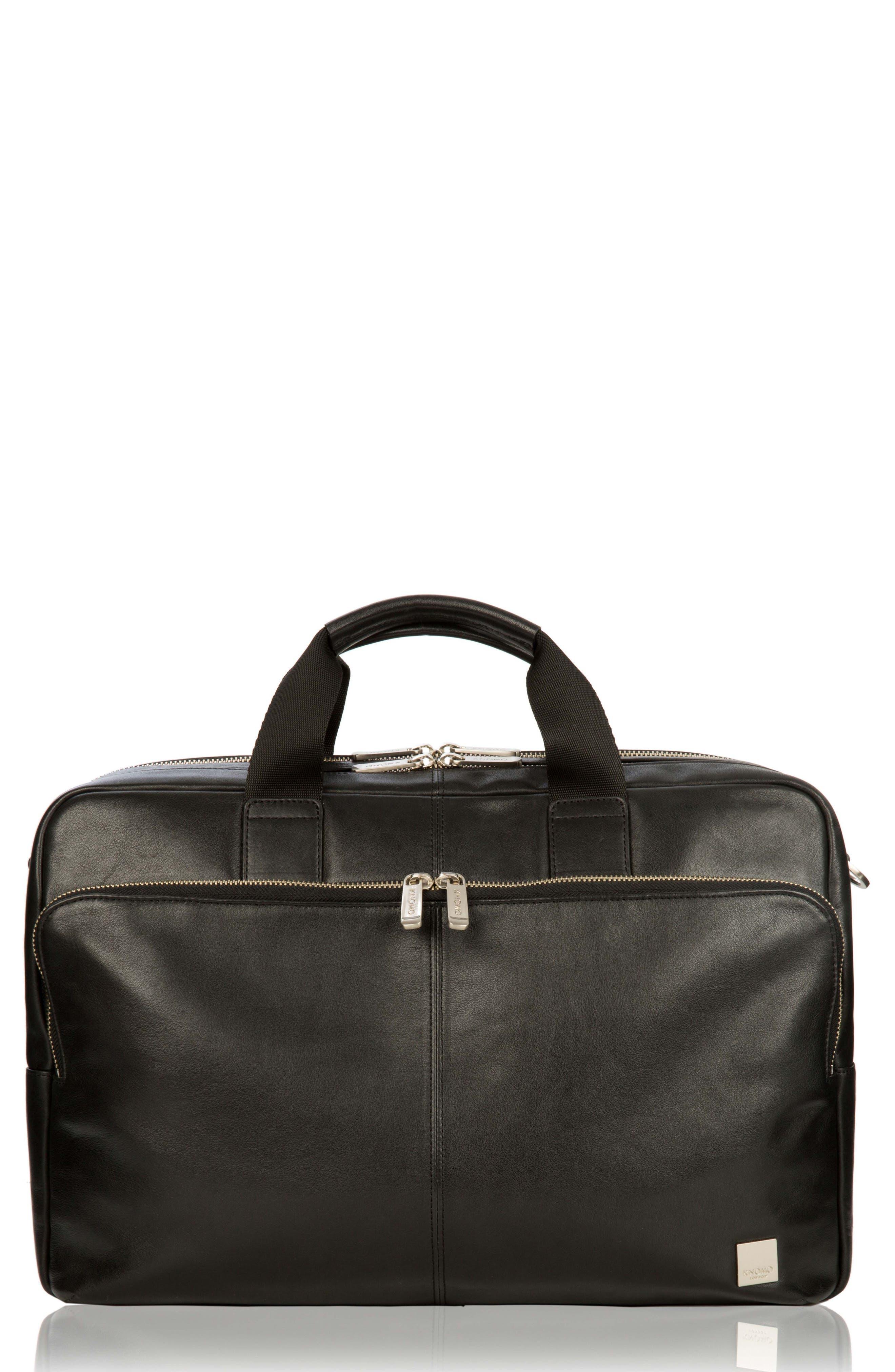KNOMO LONDON Brompton Amesbury Leather Briefcase, Main, color, 001