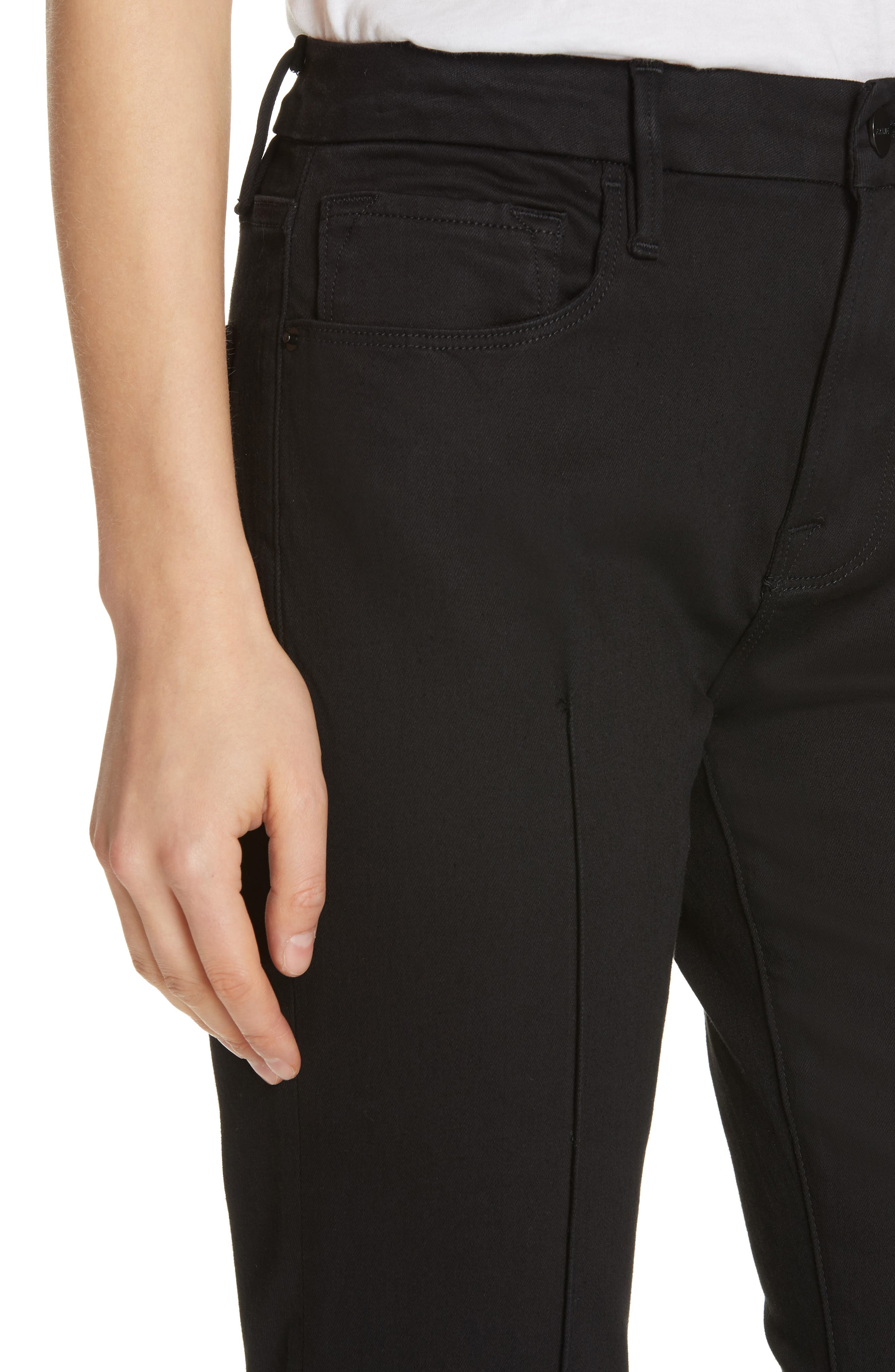 Pintucked Le Mini Boot Jeans,                             Alternate thumbnail 4, color,                             NOIR