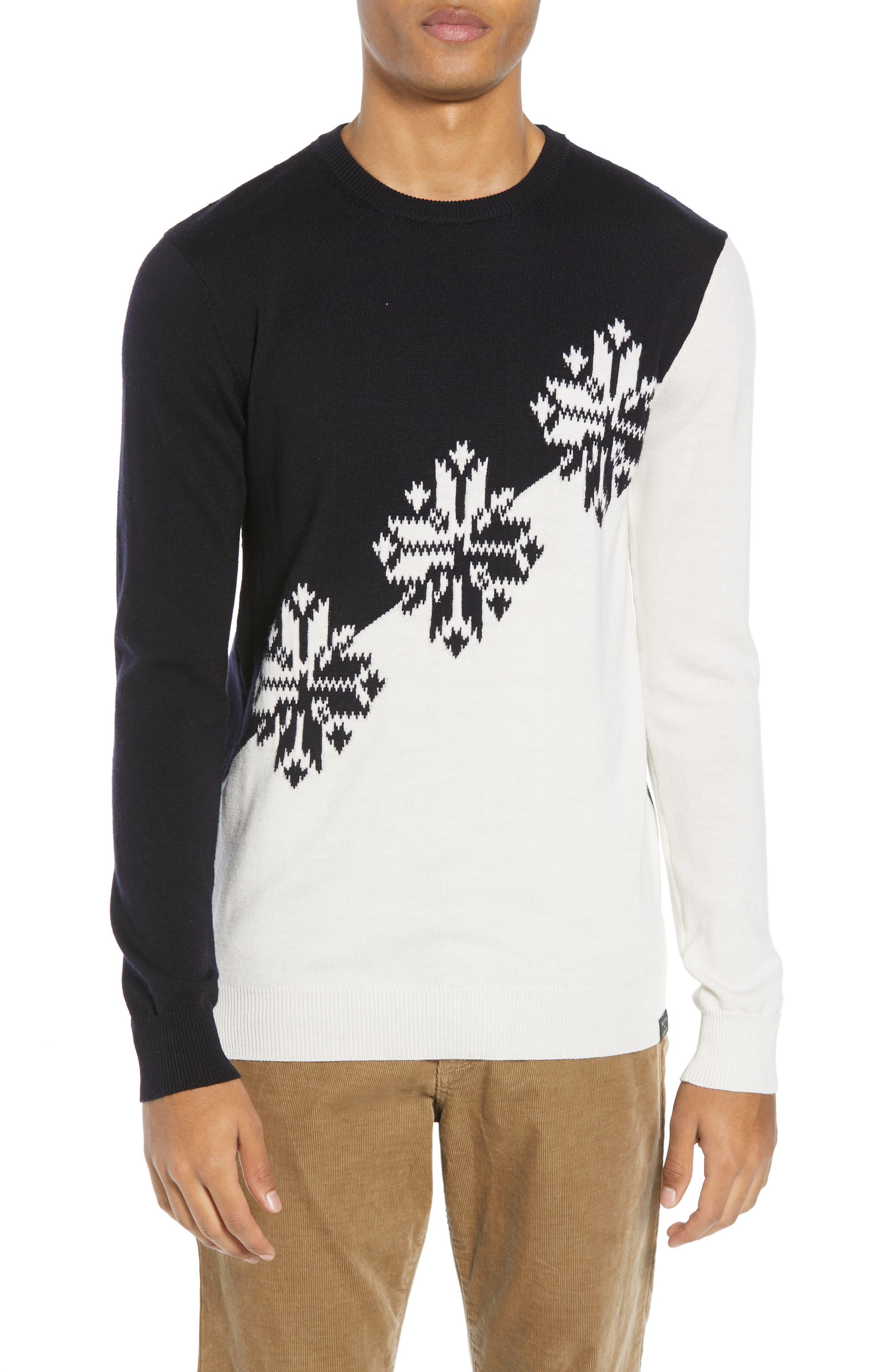 Scotch & Soda Intarsia Colorblock Wool Sweater, White
