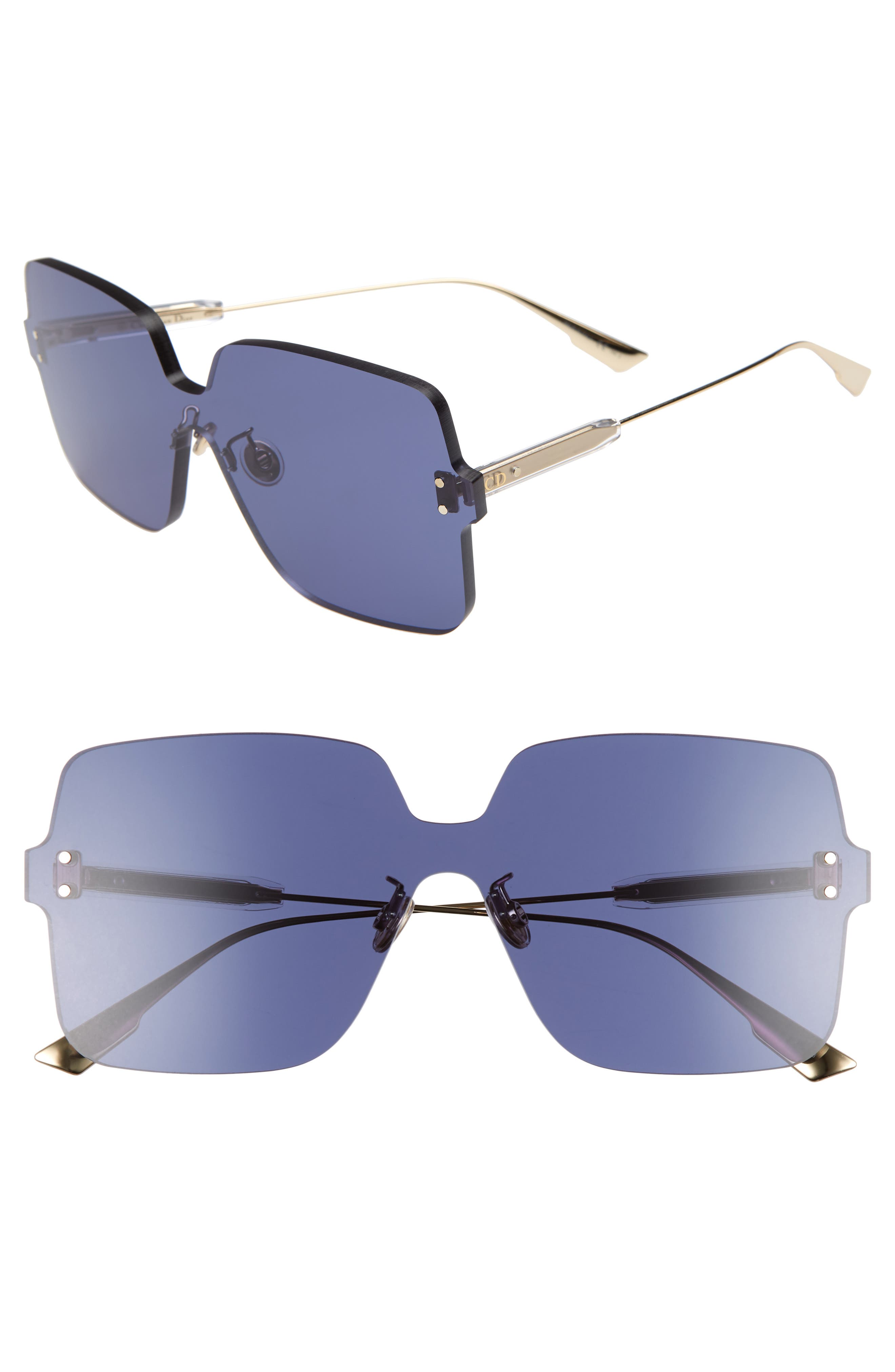 Christian Dior Quake1 147Mm Square Rimless Shield Sunglasses - Blue