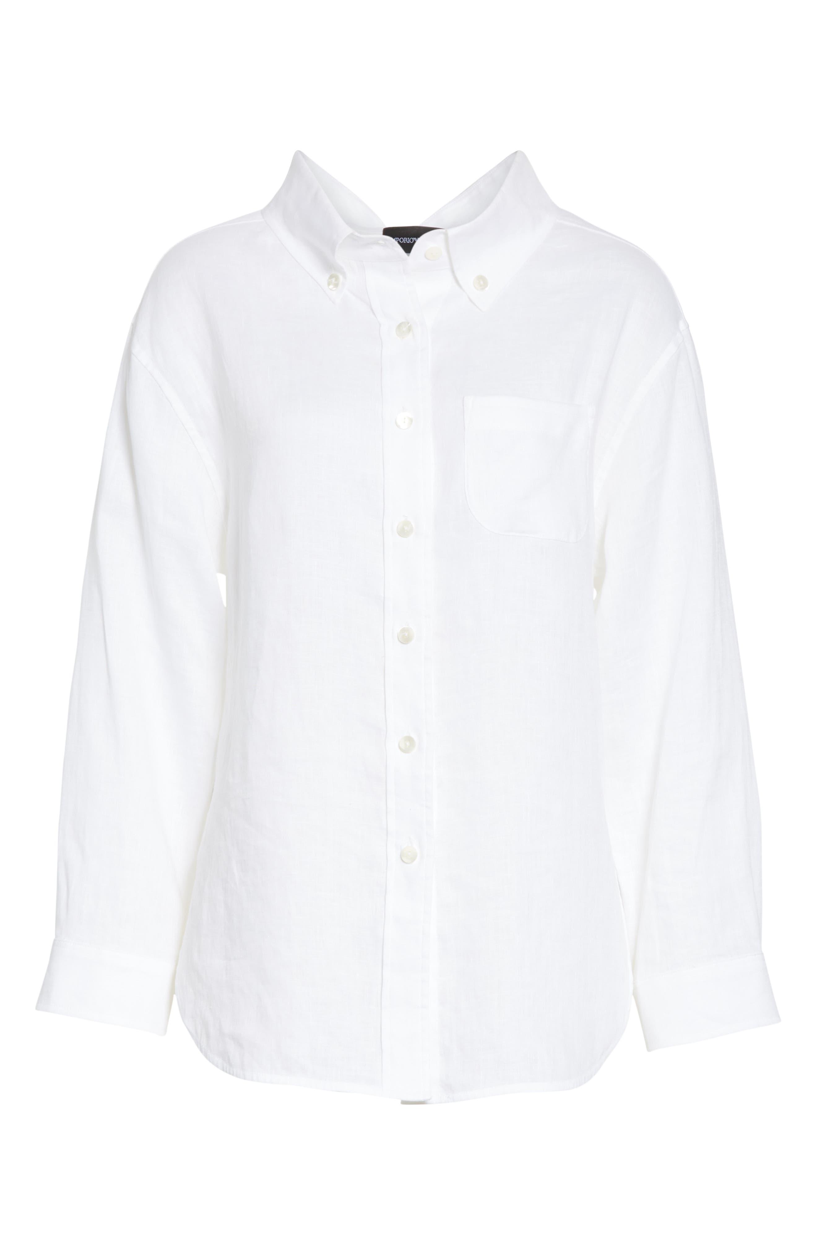 EMPORIO ARMANI,                             Long Sleeve Linen Blouse,                             Alternate thumbnail 6, color,                             BIANCO