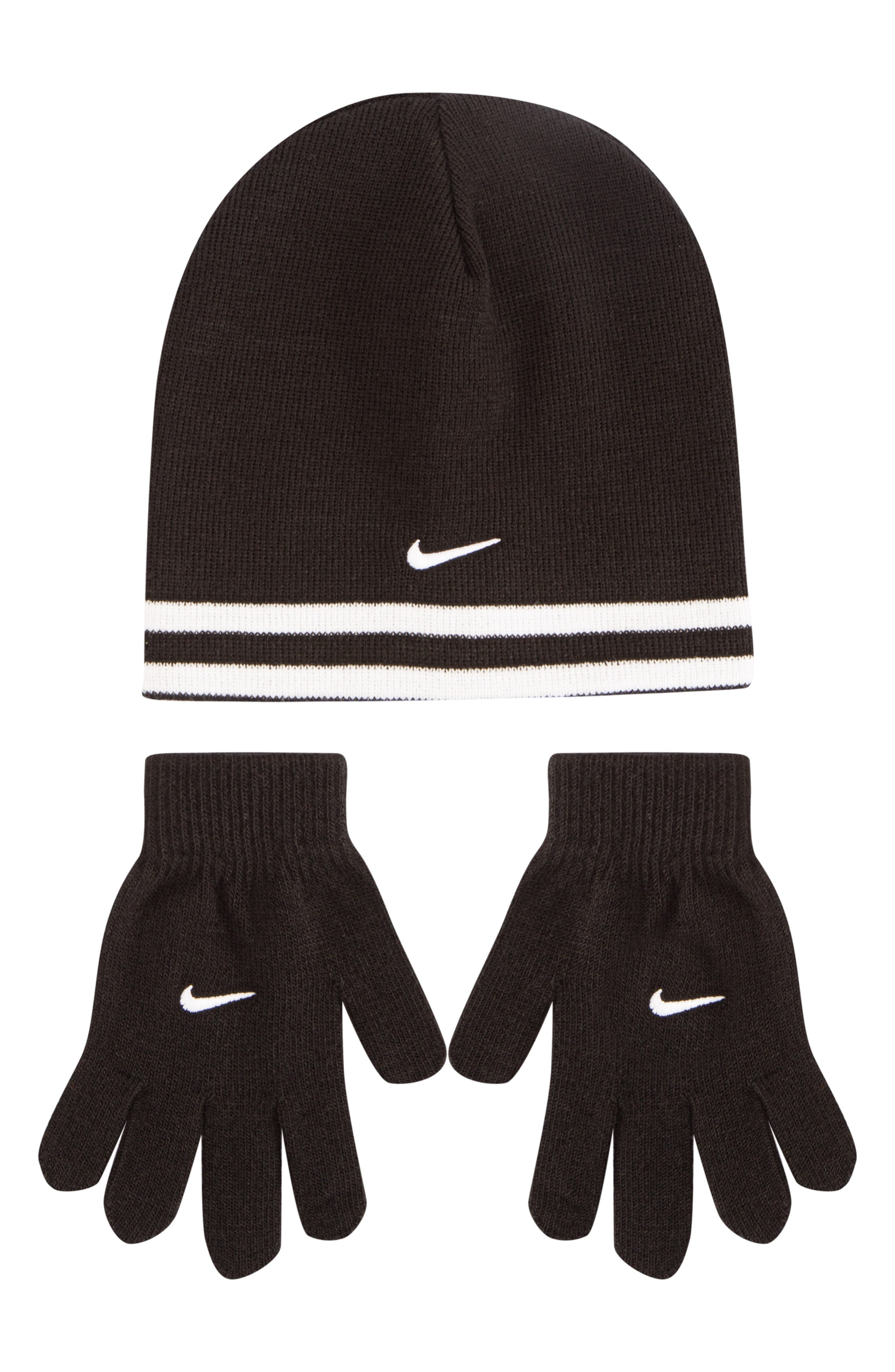 Boys Nike Stripe Hat  Gloves Set