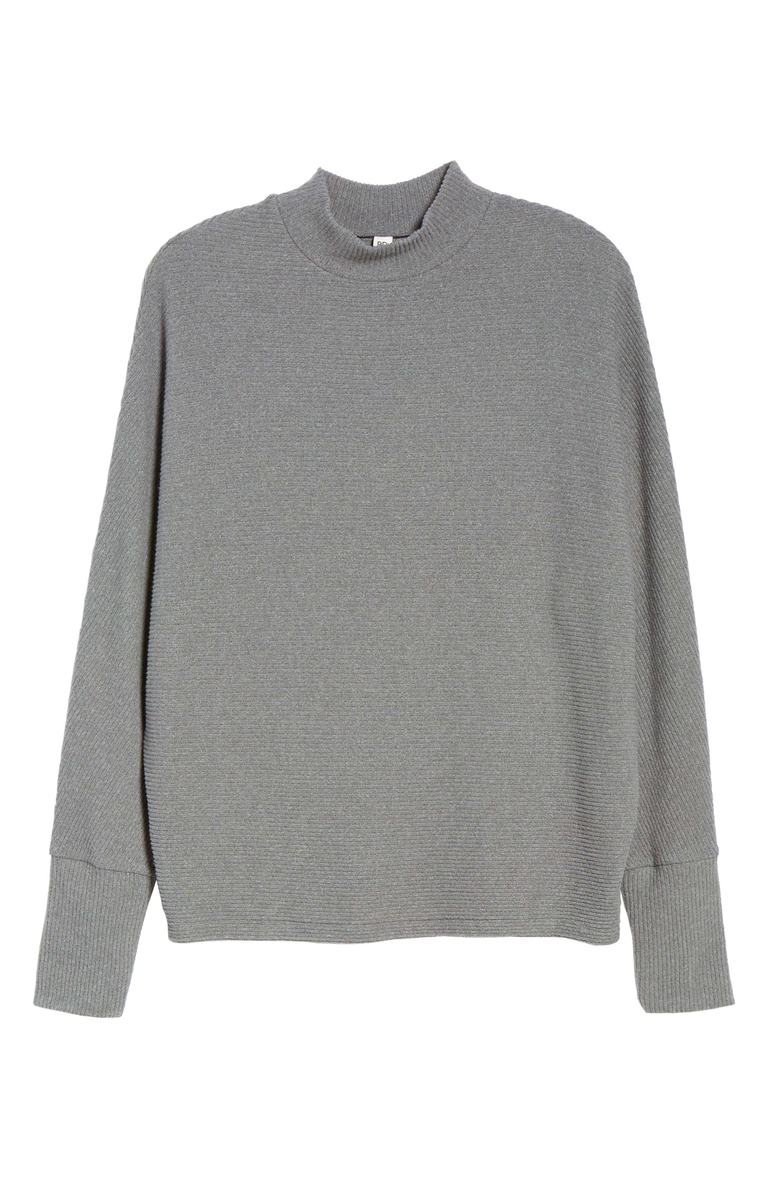 Dolman Sleeve Ribbed Top,                             Alternate thumbnail 6, color,                             GREY CLOUDY HEATHER