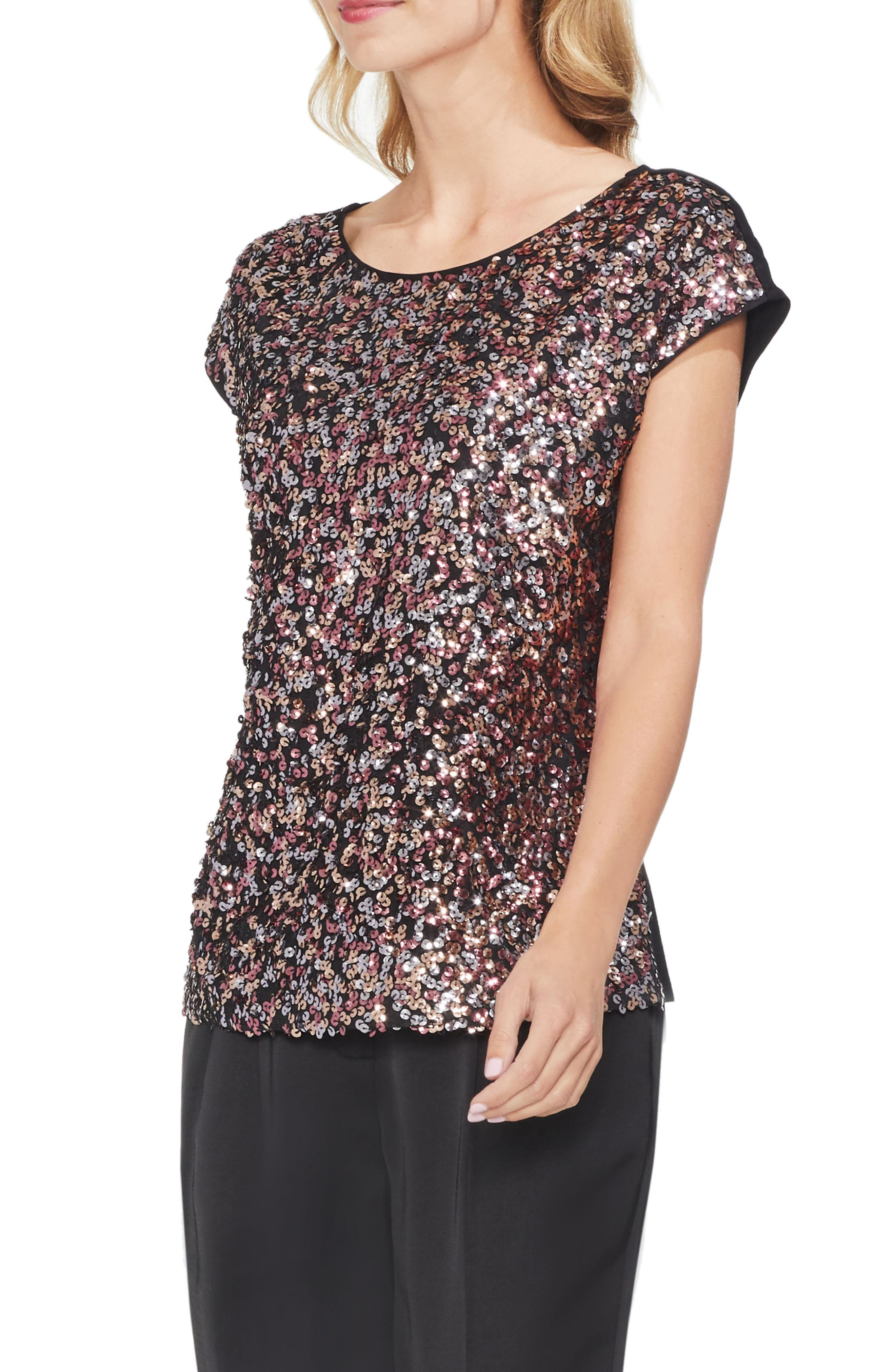 Sequin Top,                             Main thumbnail 1, color,                             SWEET CORAL