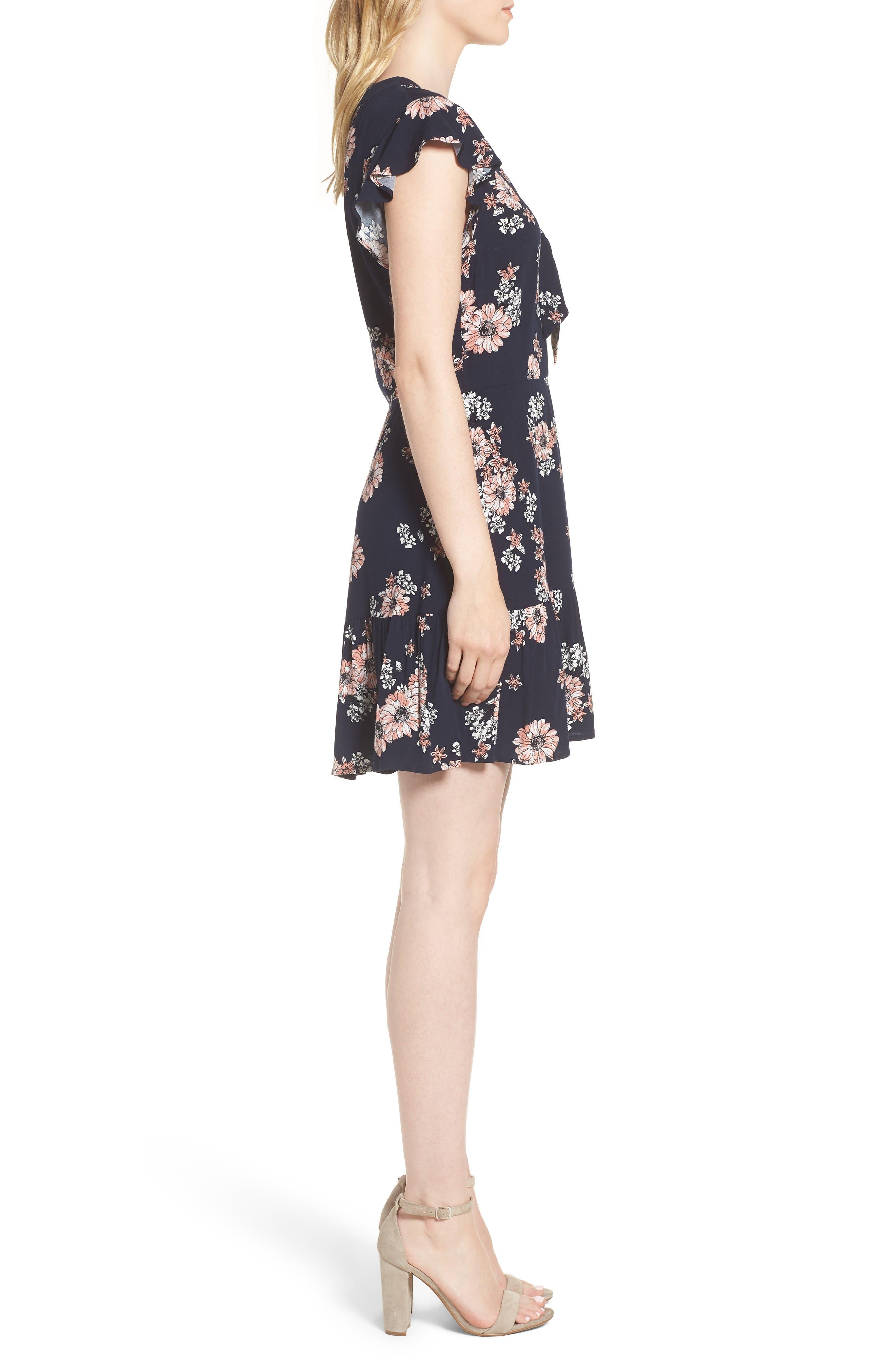 Dalma Floral Print Dress,                             Alternate thumbnail 3, color,