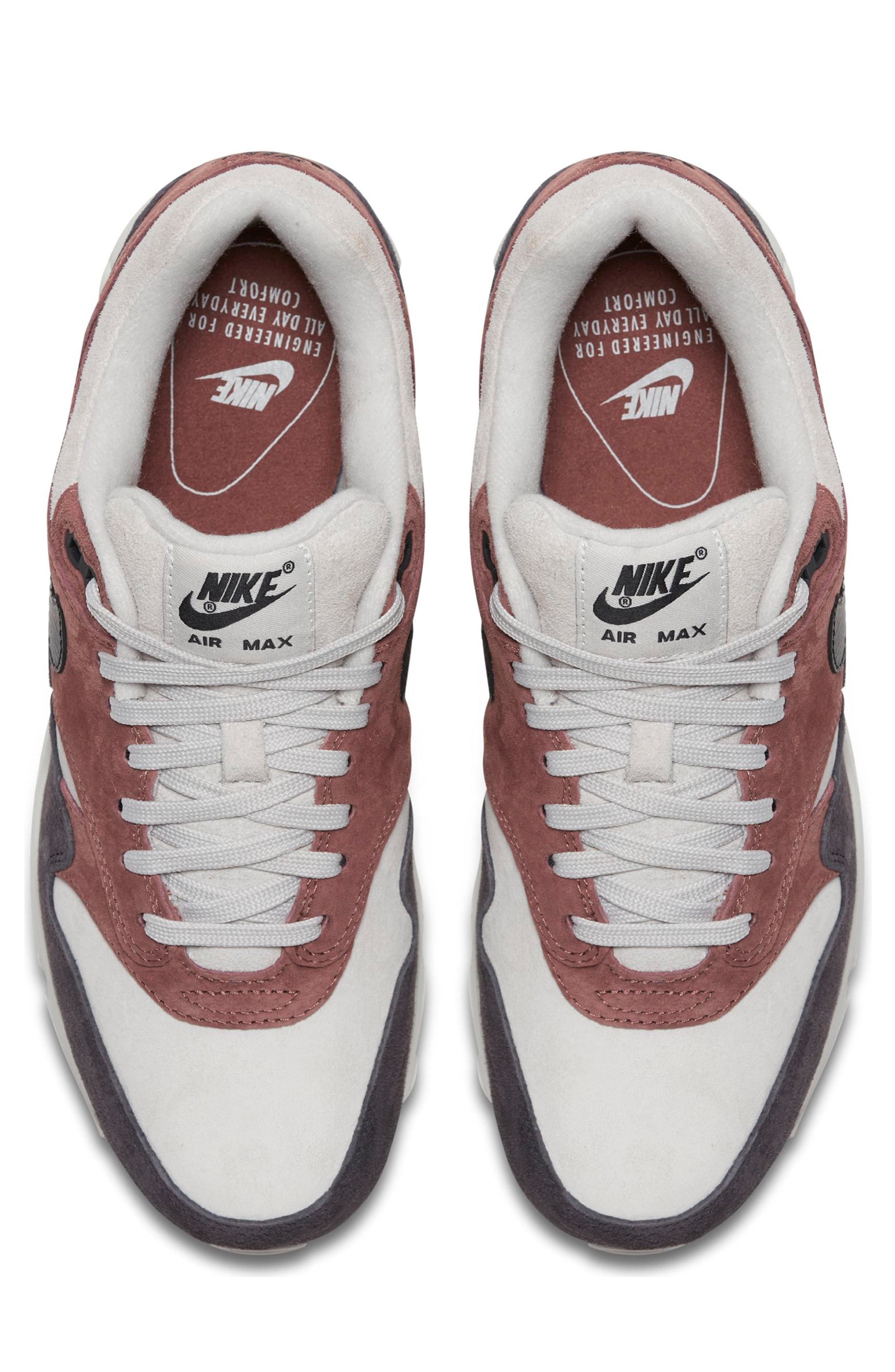 Air Max 90/1 Sneaker,                             Alternate thumbnail 4, color,                             RED SEPIA/ OIL GREY-VAST GREY