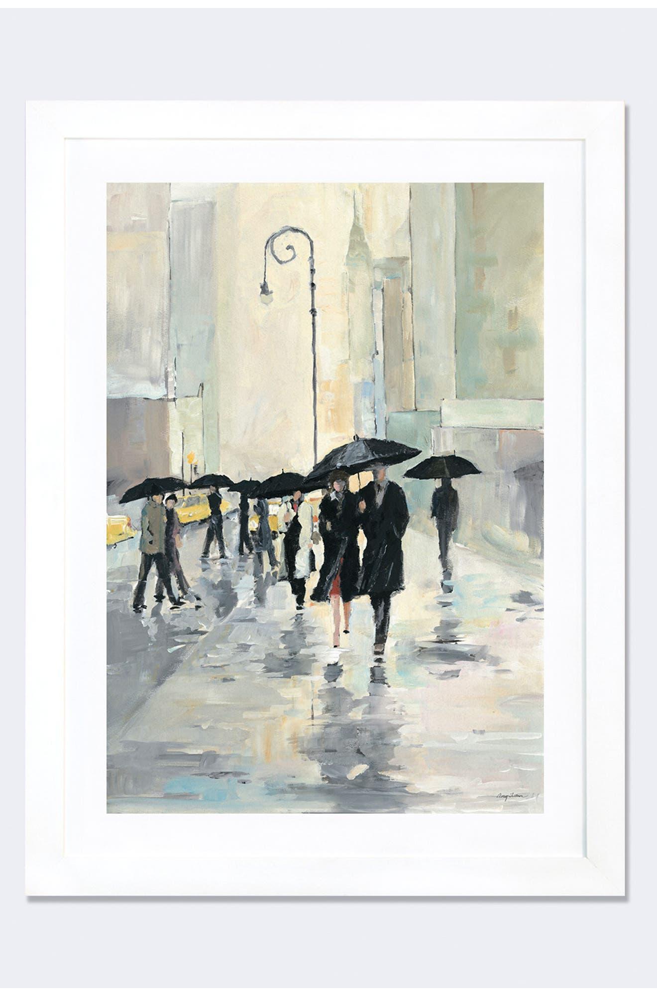 'City in the Rain' Framed Fine Art Print,                             Main thumbnail 2, color,