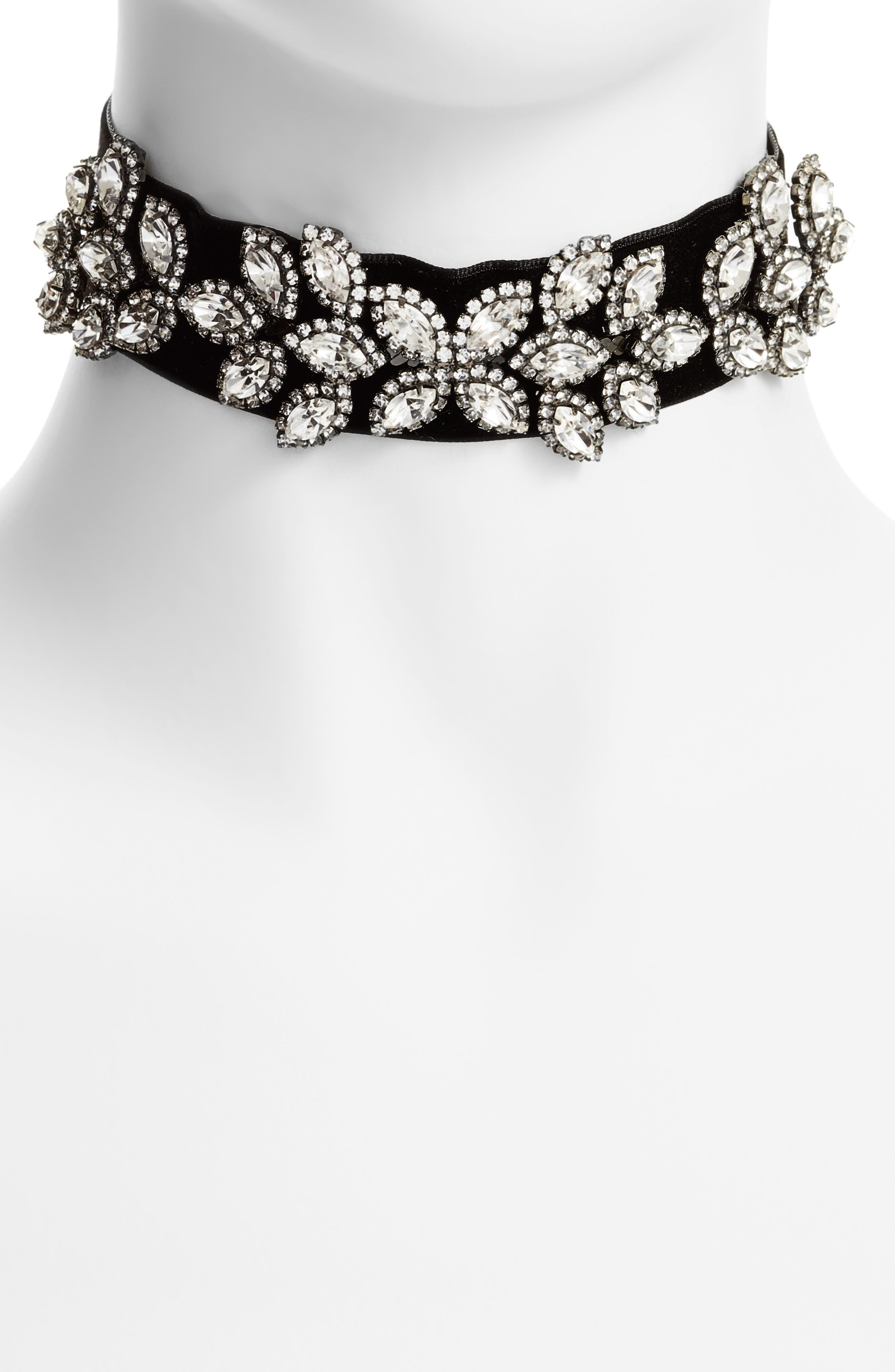 Velvet & Crystal Choker,                         Main,                         color, 001