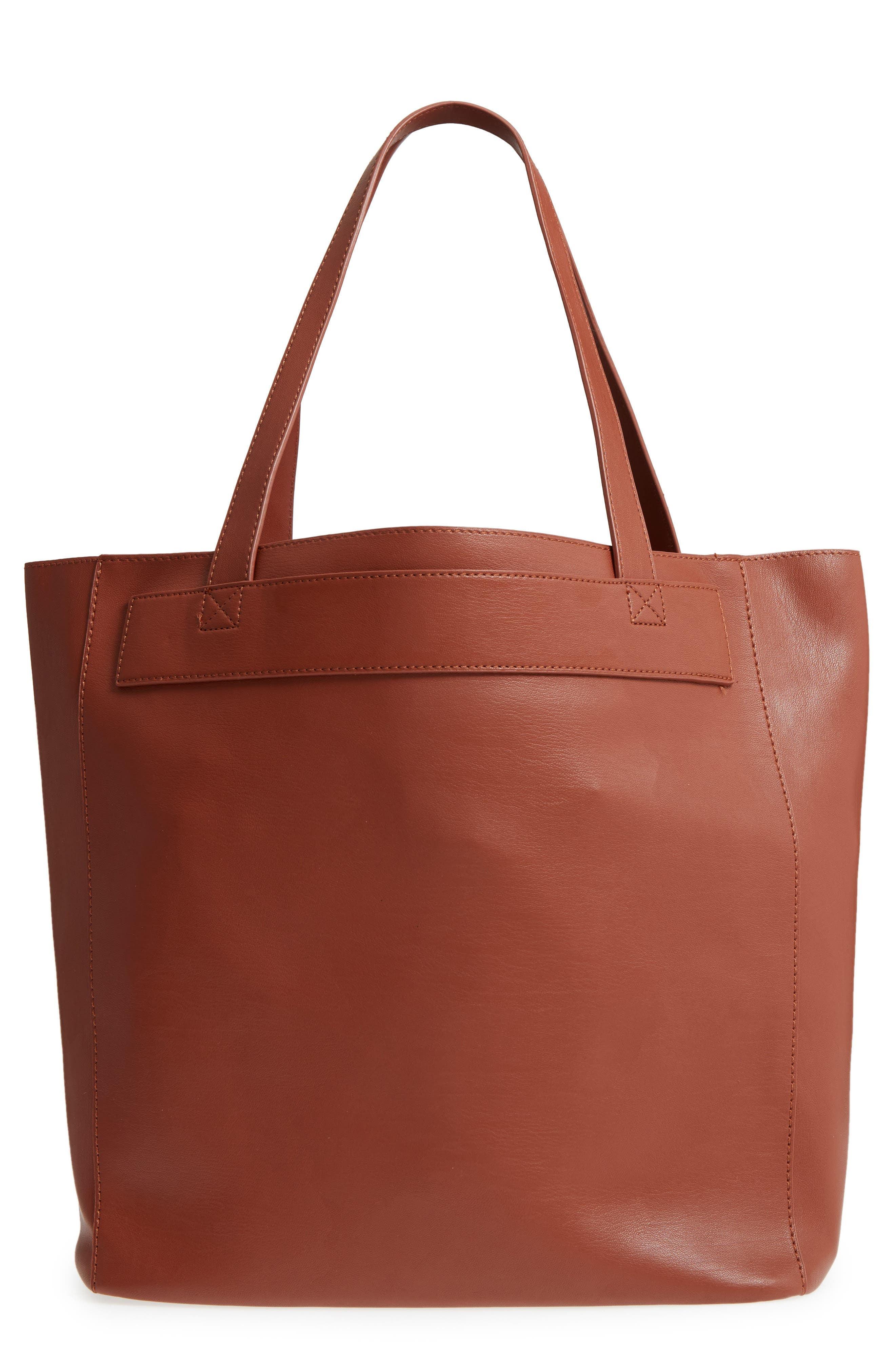 Stitched Faux Leather Tote,                             Main thumbnail 1, color,                             COGNAC