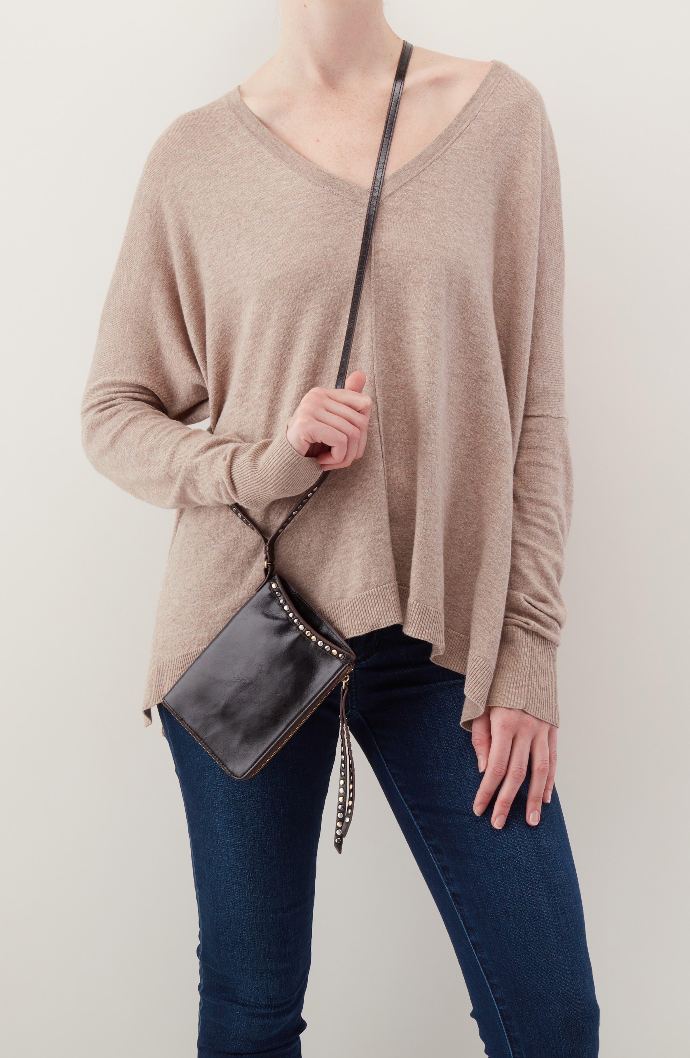 HOBO,                             Moxie Leather Crossbody Bag,                             Alternate thumbnail 7, color,                             BLACK