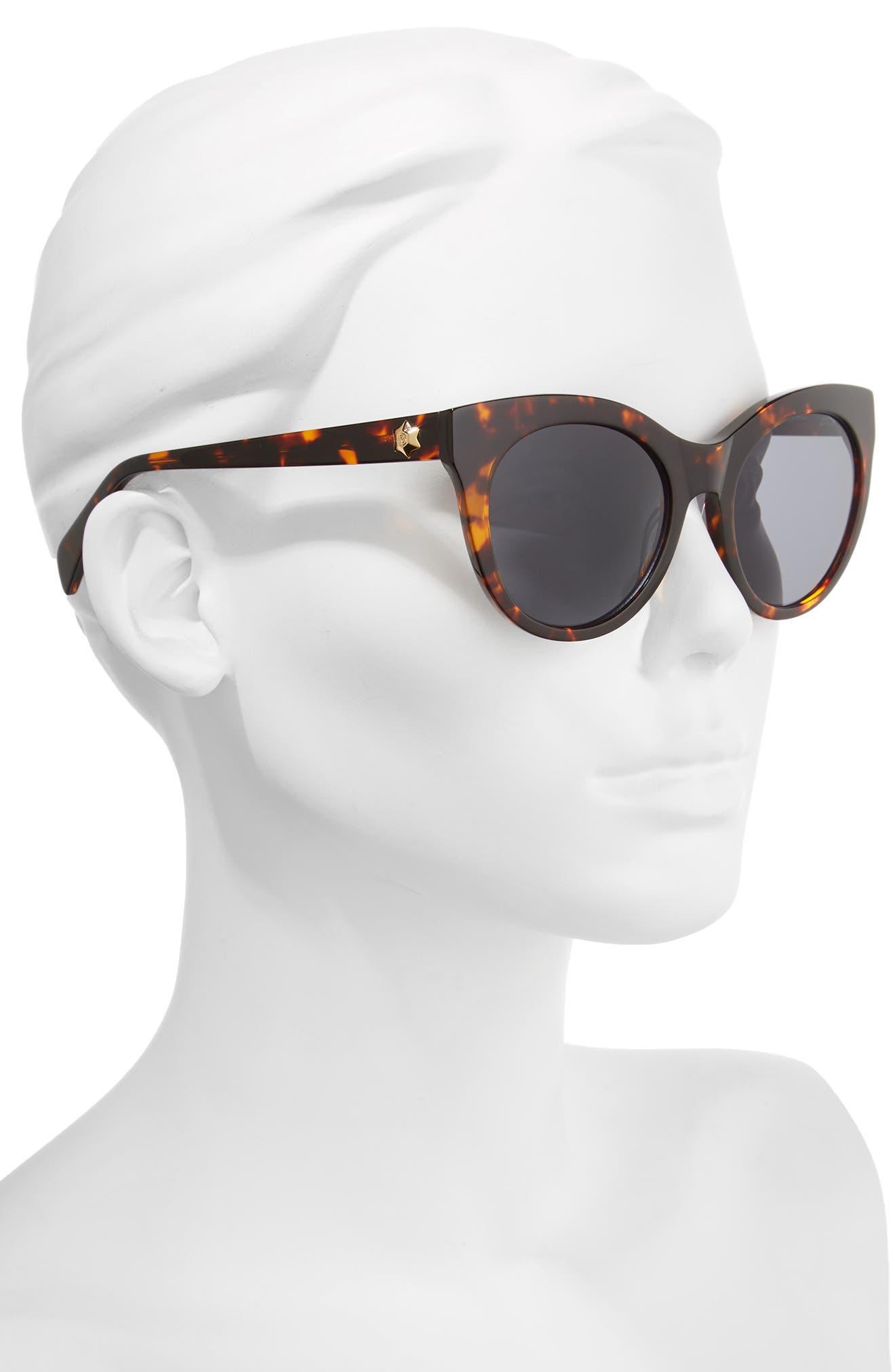 52mm Round Cat Eye Sunglasses,                             Alternate thumbnail 6, color,