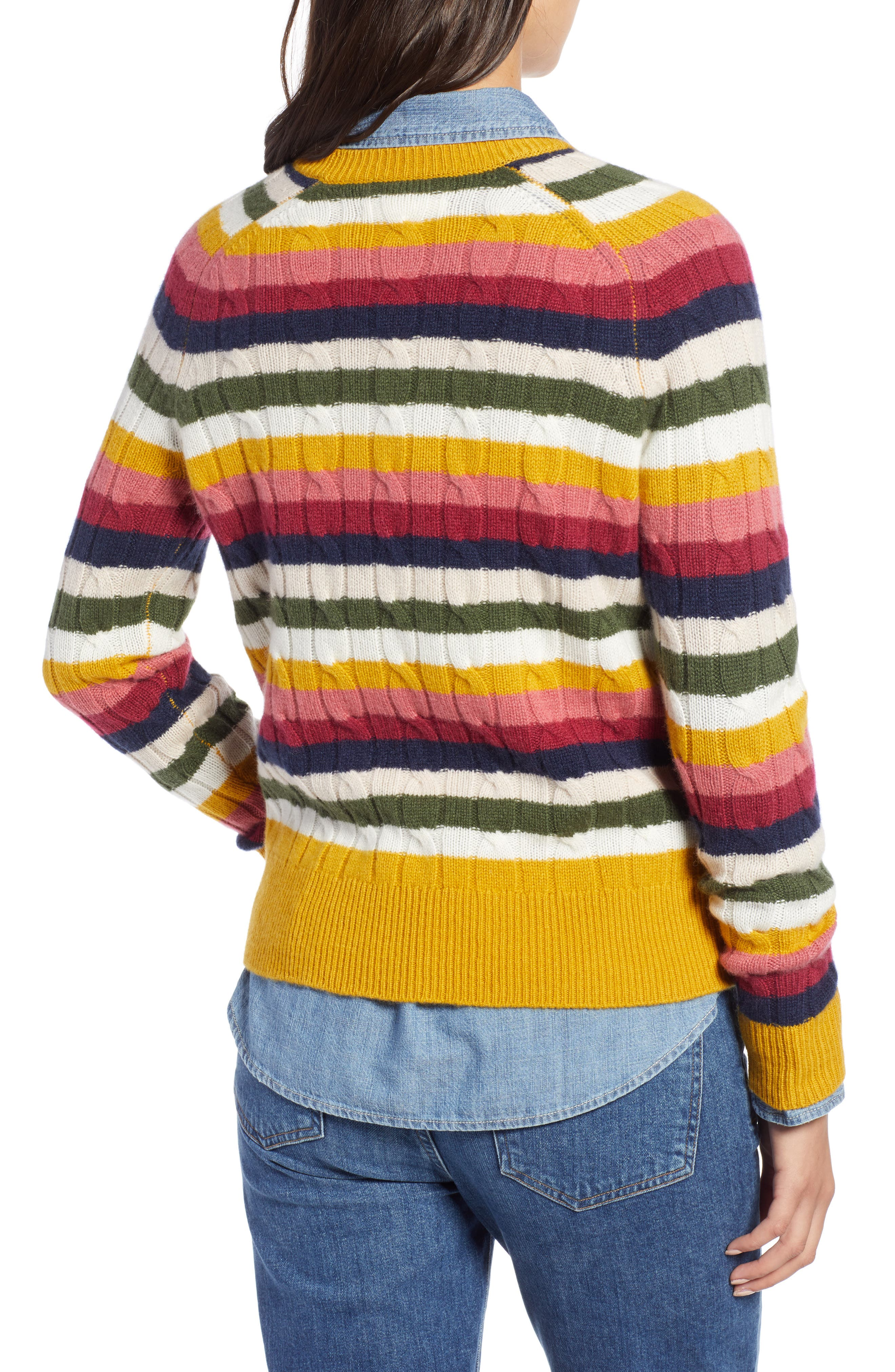 Cashmere Cable Sweater,                             Alternate thumbnail 2, color,                             RED MULTI HAPPY STRIPE