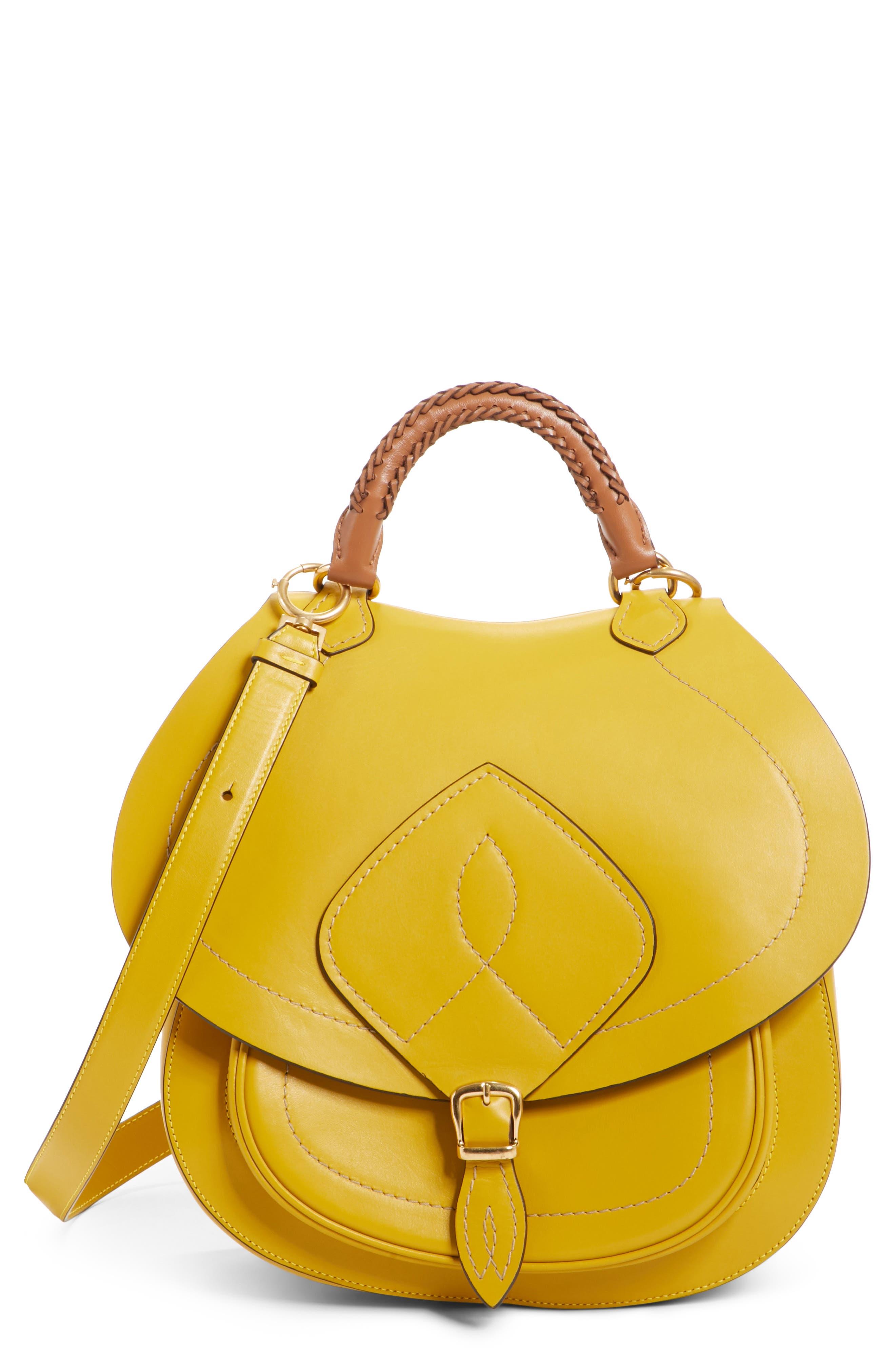 Large Bag Slide Leather Saddle Bag,                             Main thumbnail 1, color,                             YELLOW