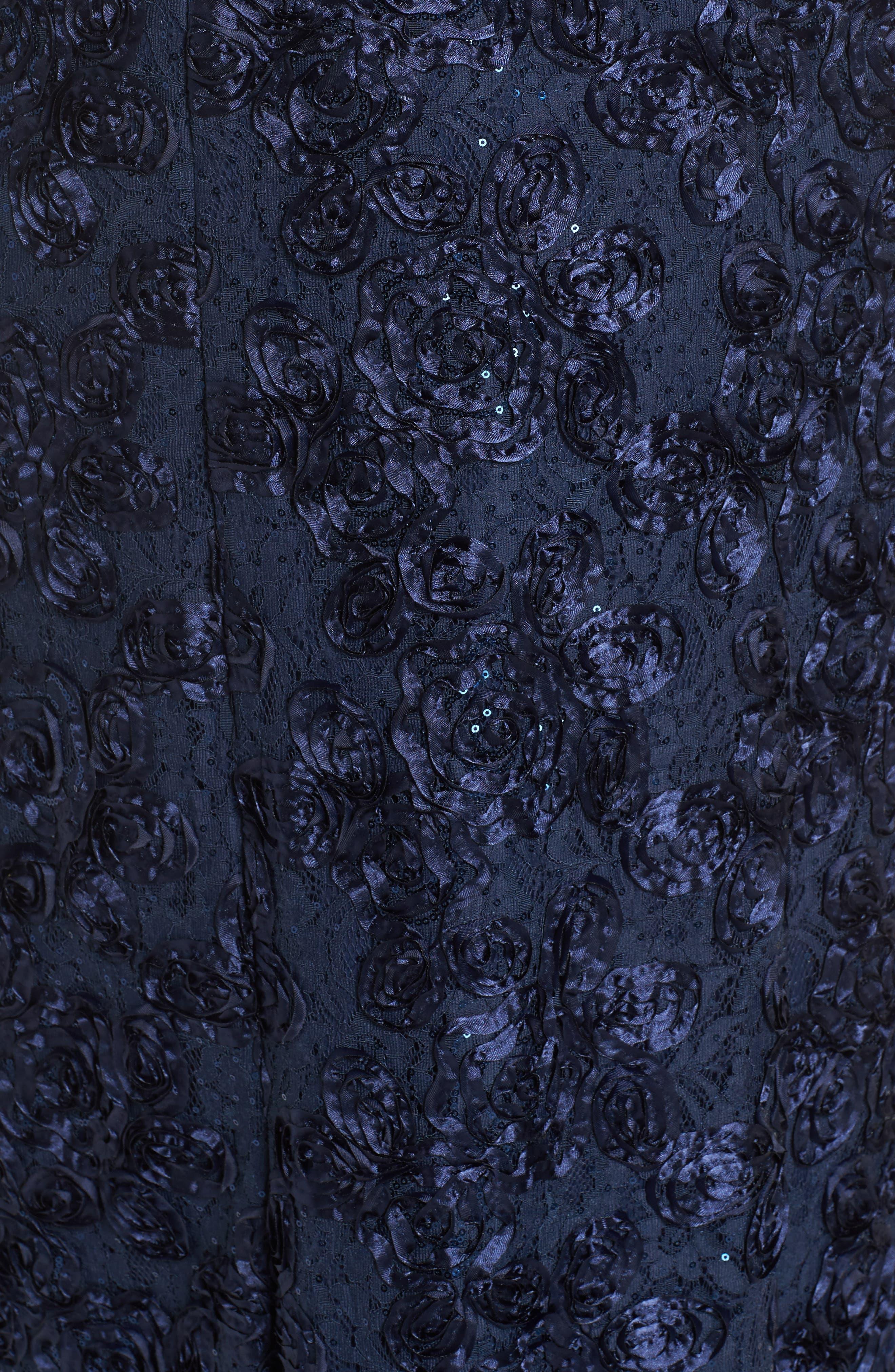 Rosette Lace Short Sleeve A-Line Gown,                             Alternate thumbnail 7, color,                             NAVY
