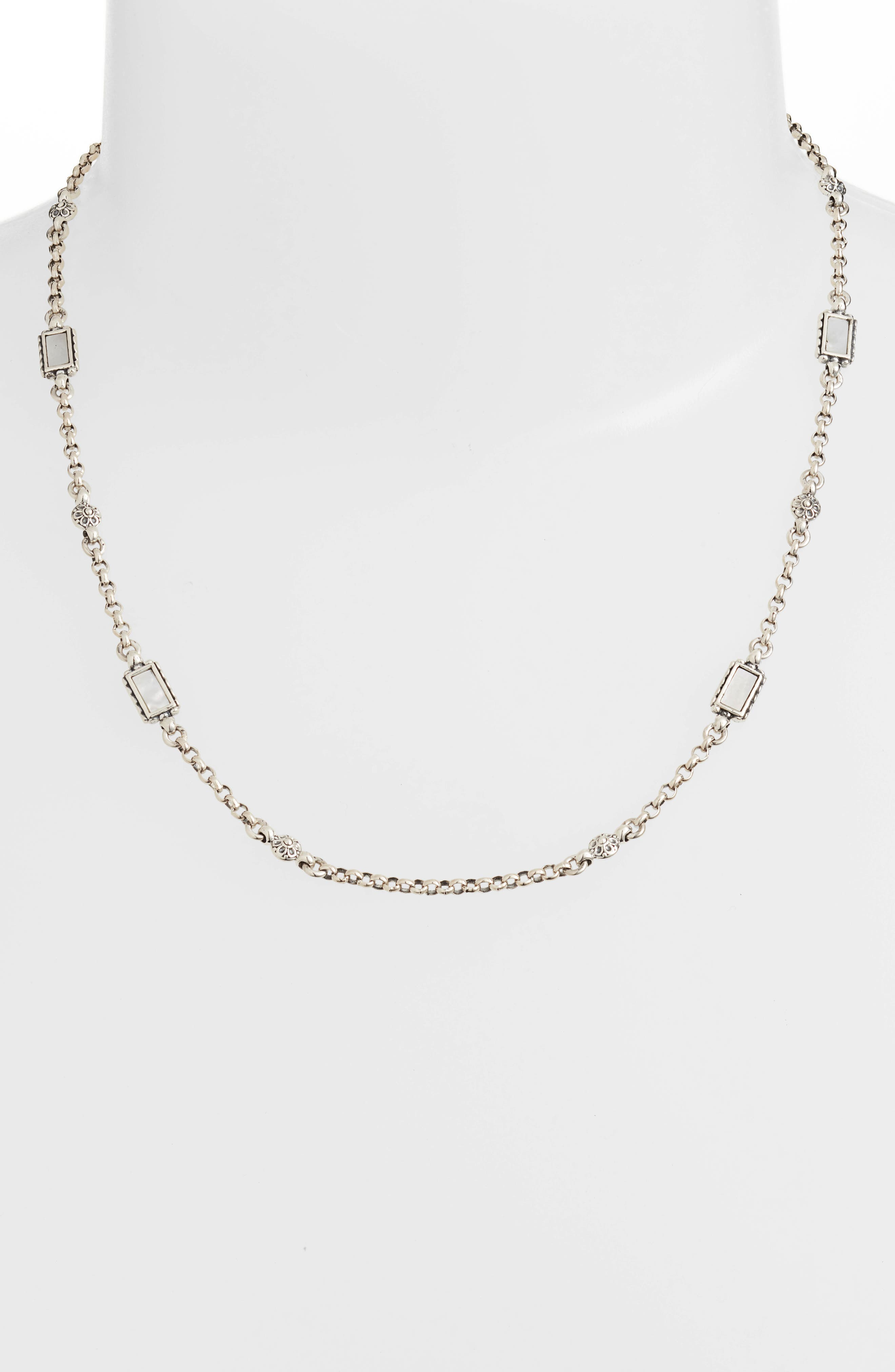 Mother of Pearl Sterling Necklace,                             Alternate thumbnail 2, color,                             SILVER/ GOLD/ WHITE