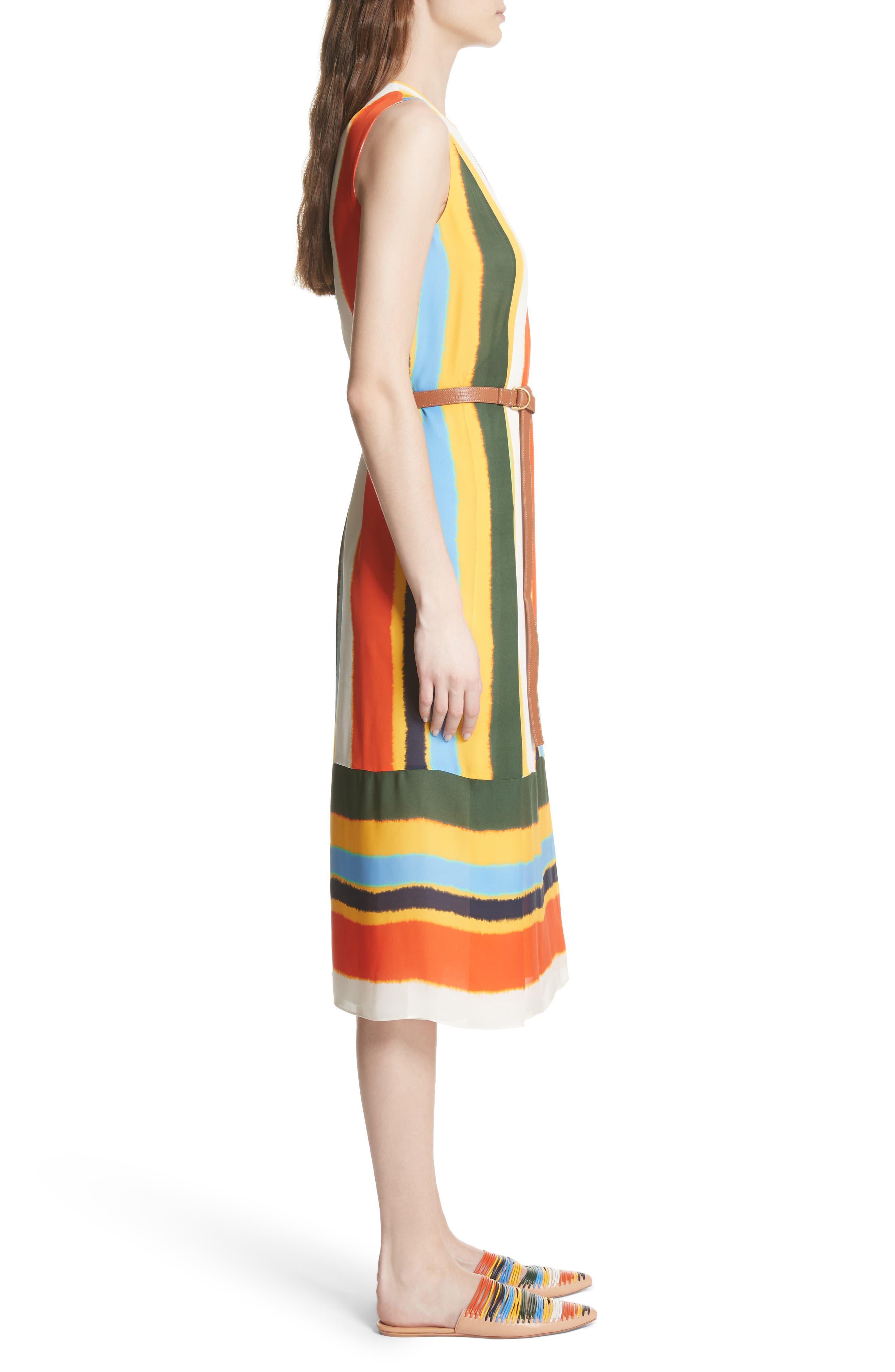 Bettina Stripe Silk Wrap Dress,                             Alternate thumbnail 3, color,                             108