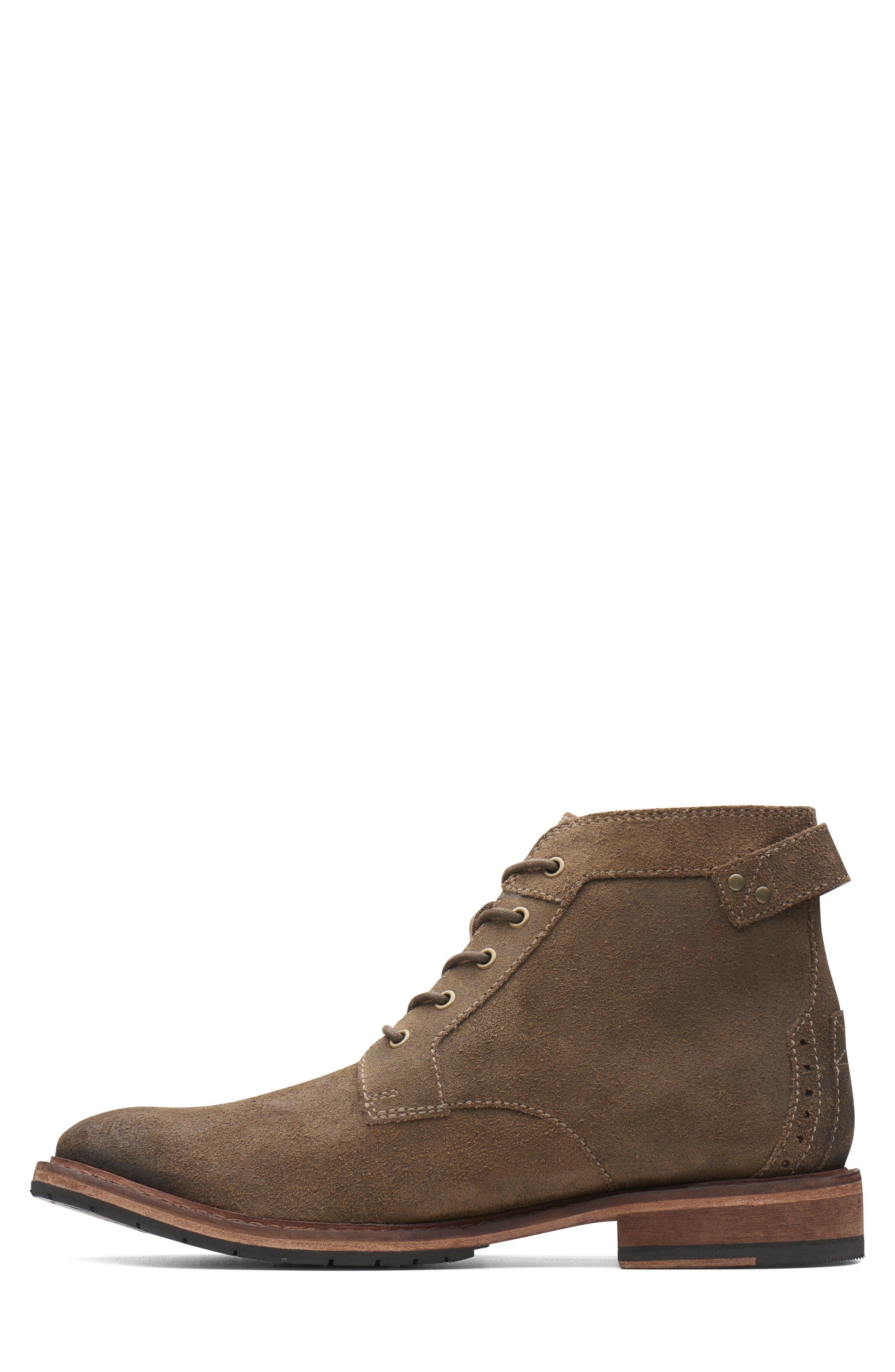 Clarkdale Bud Plain Toe Boot,                             Alternate thumbnail 5, color,                             KHAKI SUEDE