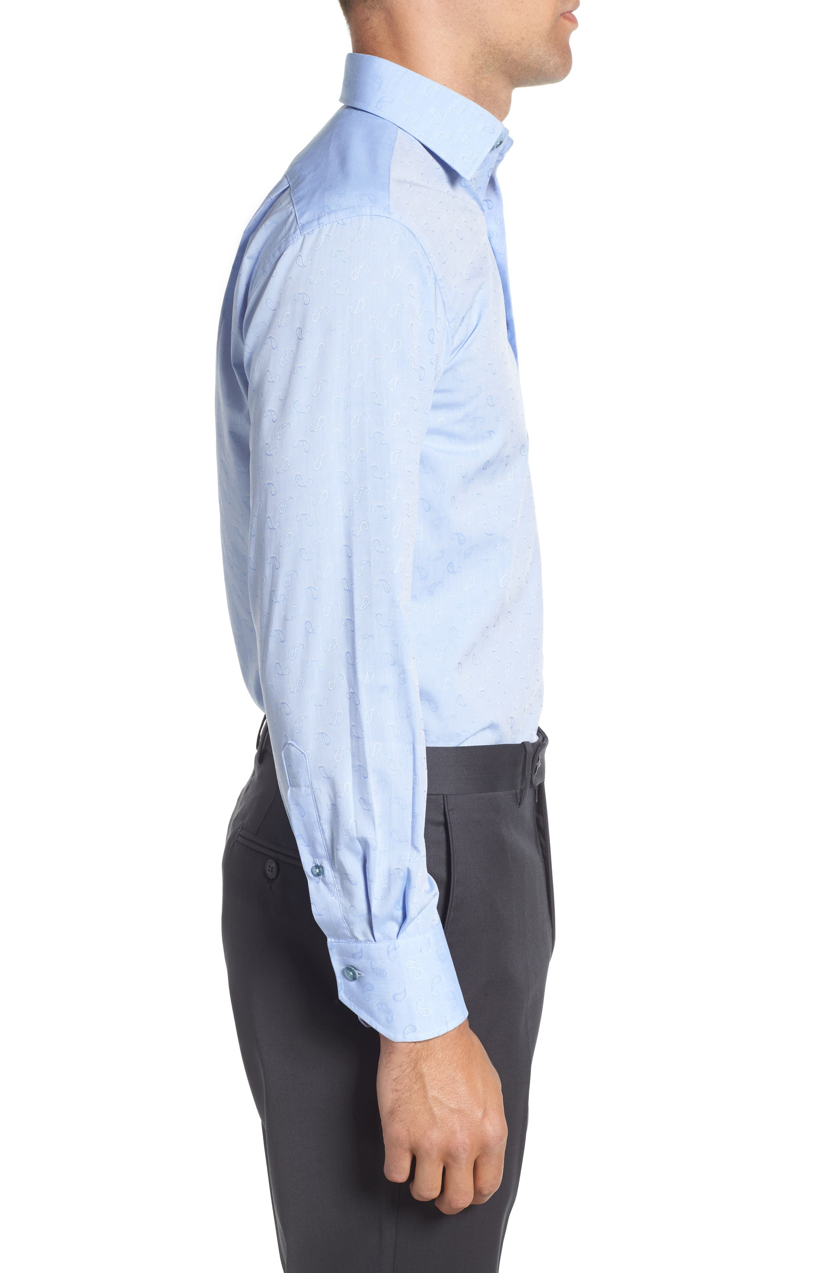 Trim Fit Paisley Dress Shirt,                             Alternate thumbnail 4, color,                             LIGHT BLUE