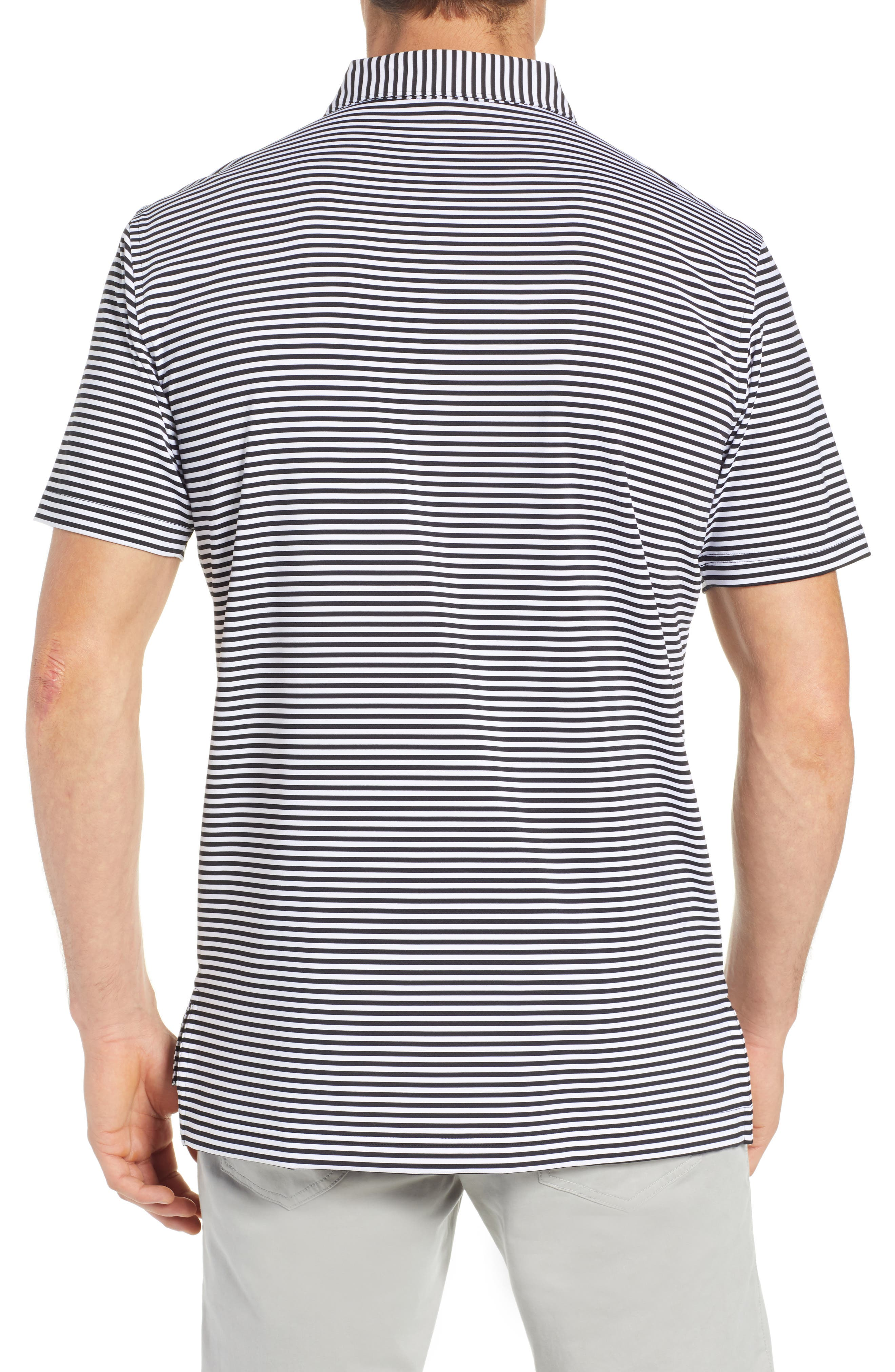 Stripe Stretch Jersey Performance Polo,                             Alternate thumbnail 2, color,                             BLACK/WHITE