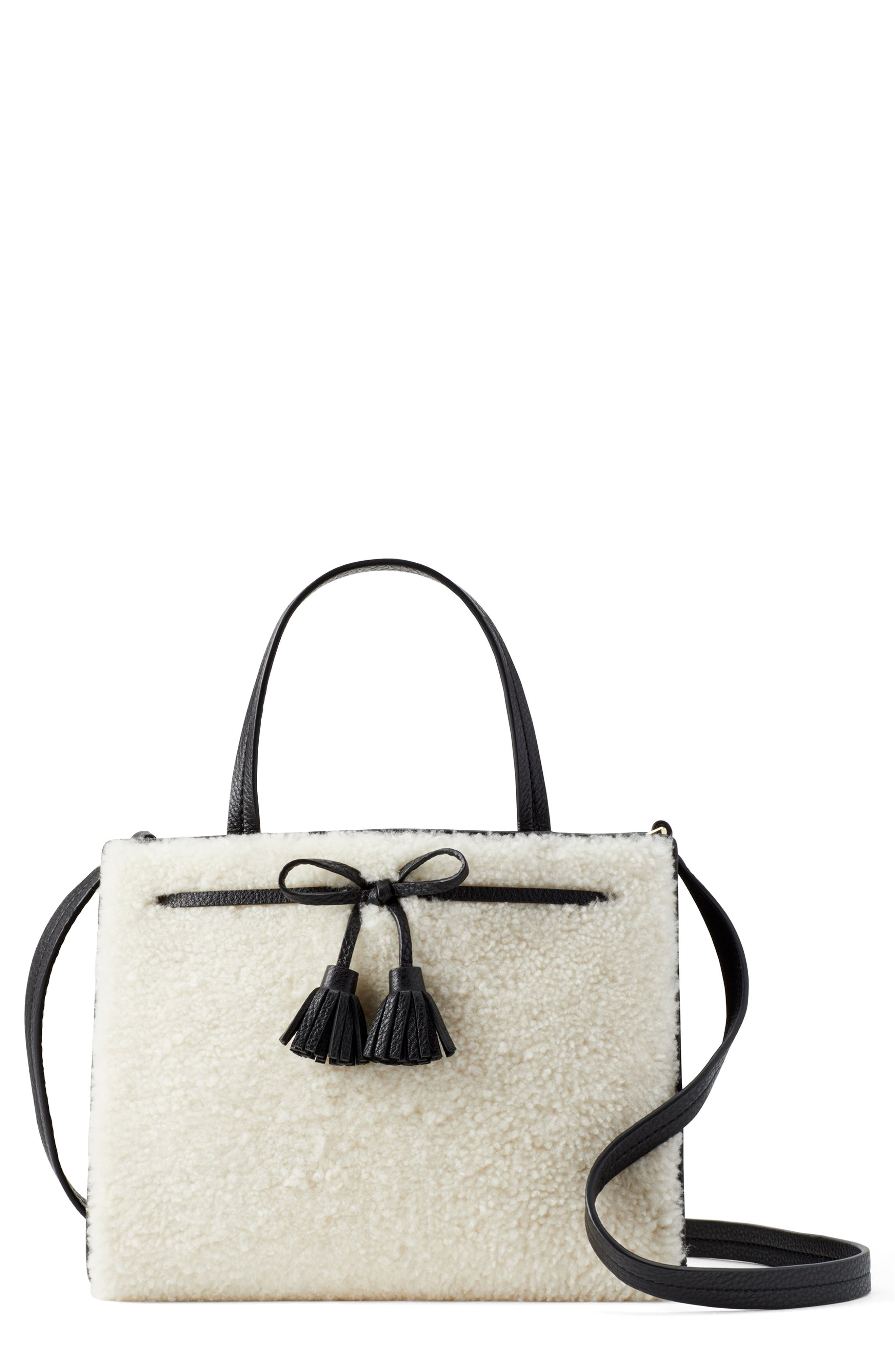 Hayes Street - Sam Genuine Shearling & Leather Satchel - Black in Cement