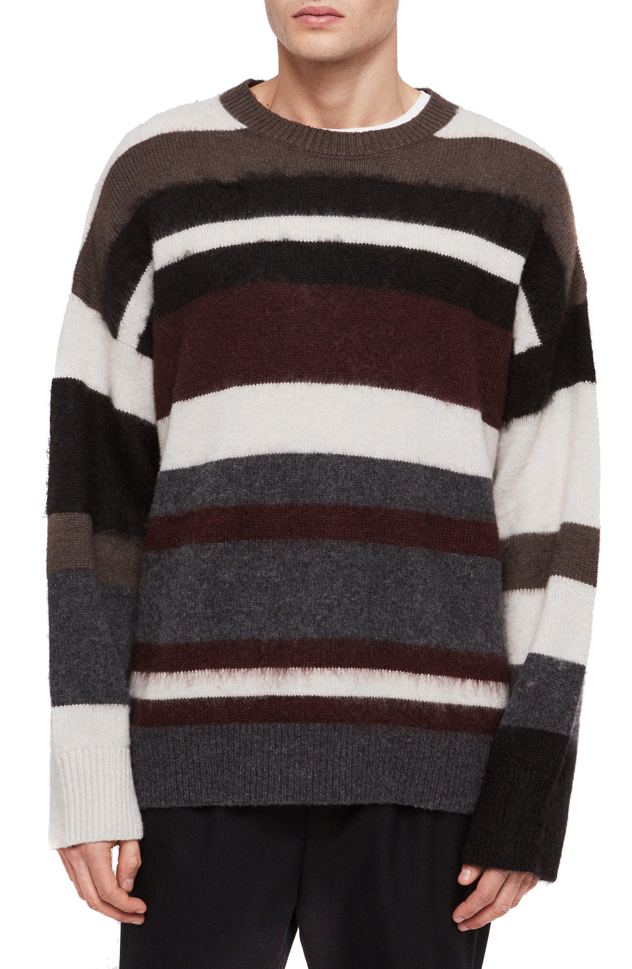 Allsaints Striley Striped Wool Blend Sweater, Brown
