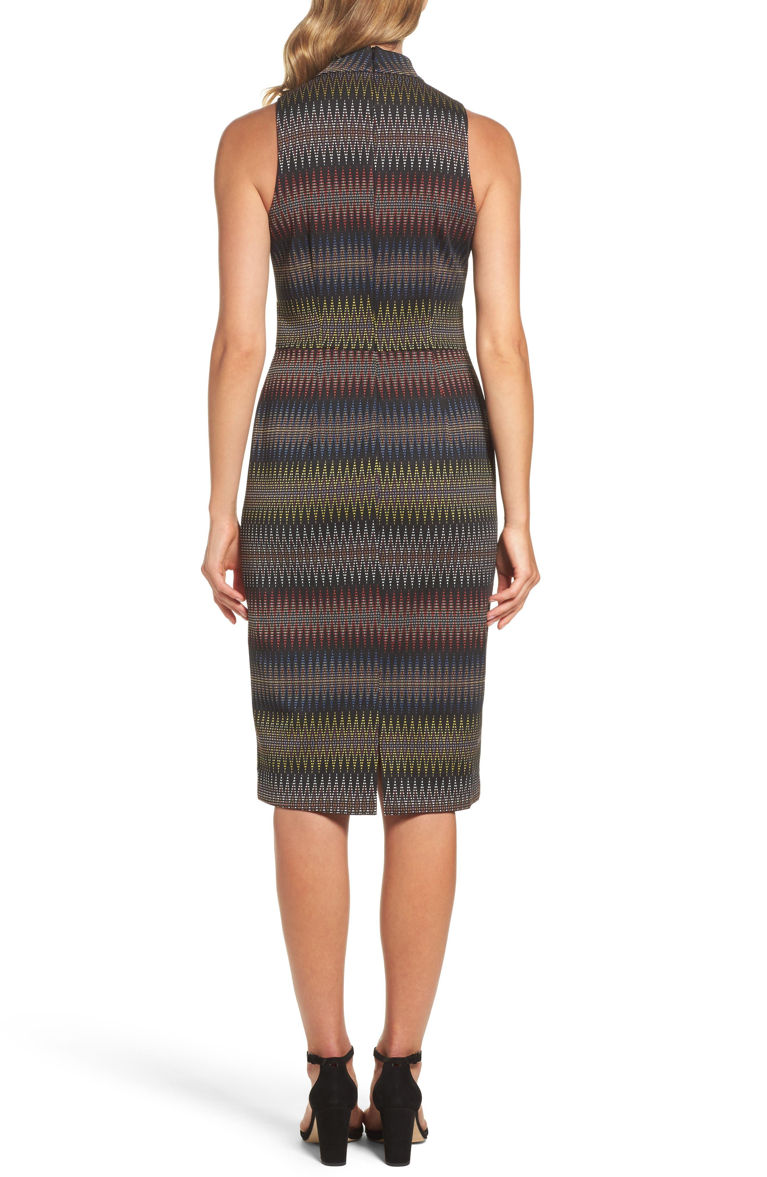 Jacquard Sheath Dress,                             Alternate thumbnail 2, color,                             001