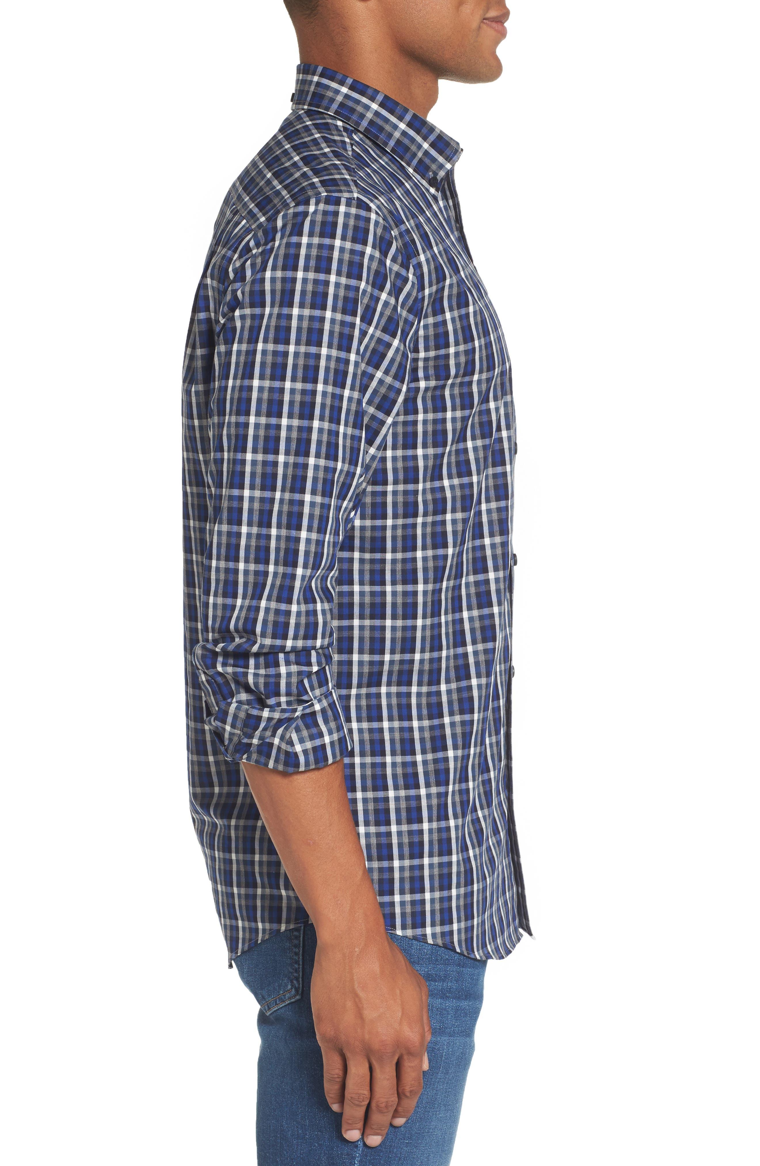 Regular Fit Non-Iron Spade Check Dress Shirt,                             Alternate thumbnail 3, color,                             401