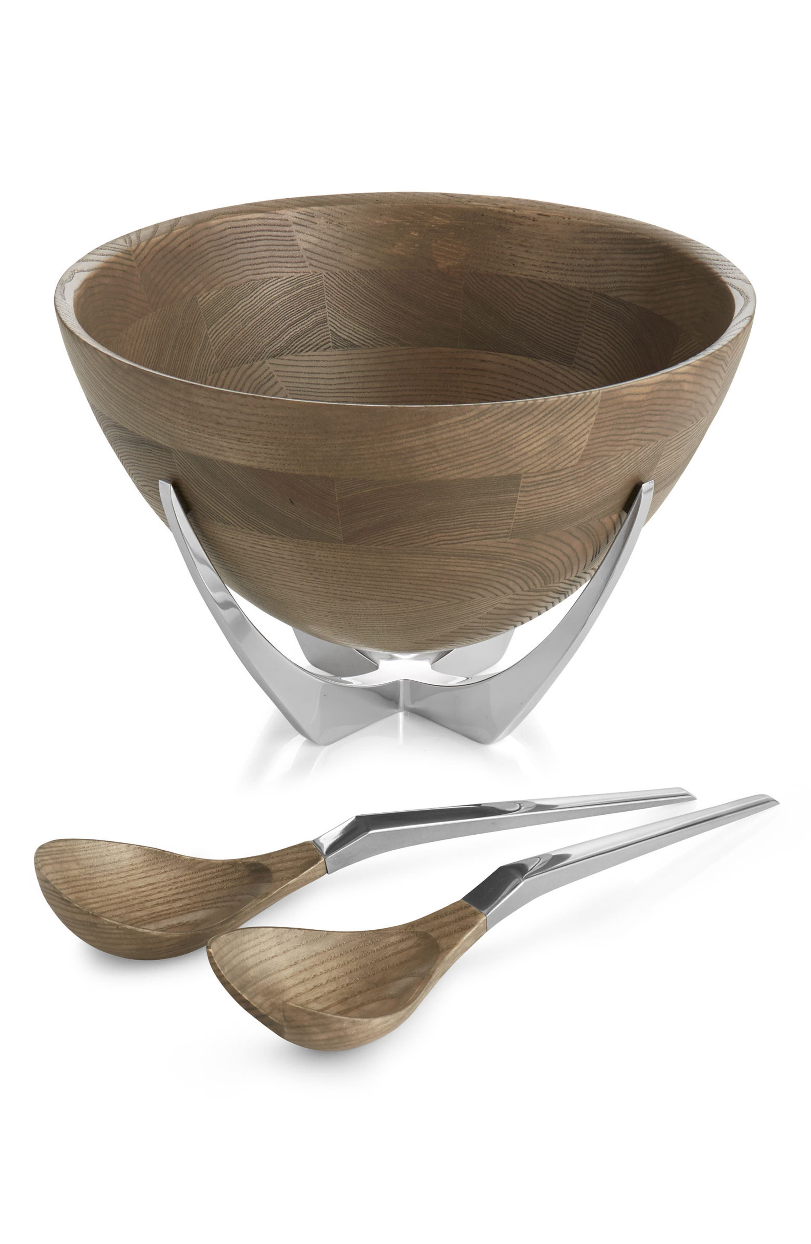 Cabo Salad Bowl & Servers Set,                             Main thumbnail 1, color,                             BROWN