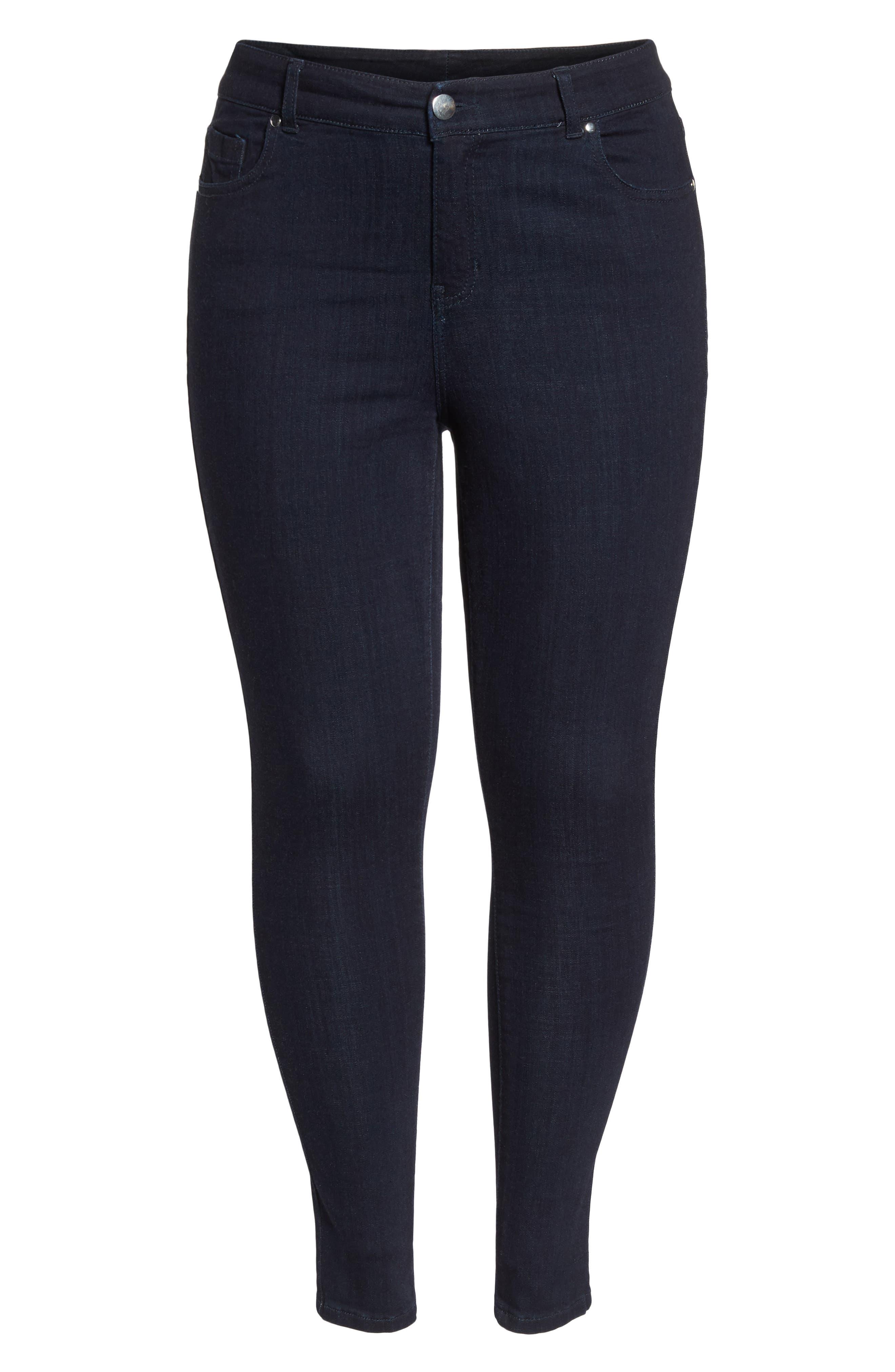 Stretch Skinny Jeans,                             Alternate thumbnail 7, color,                             DARK RINSE