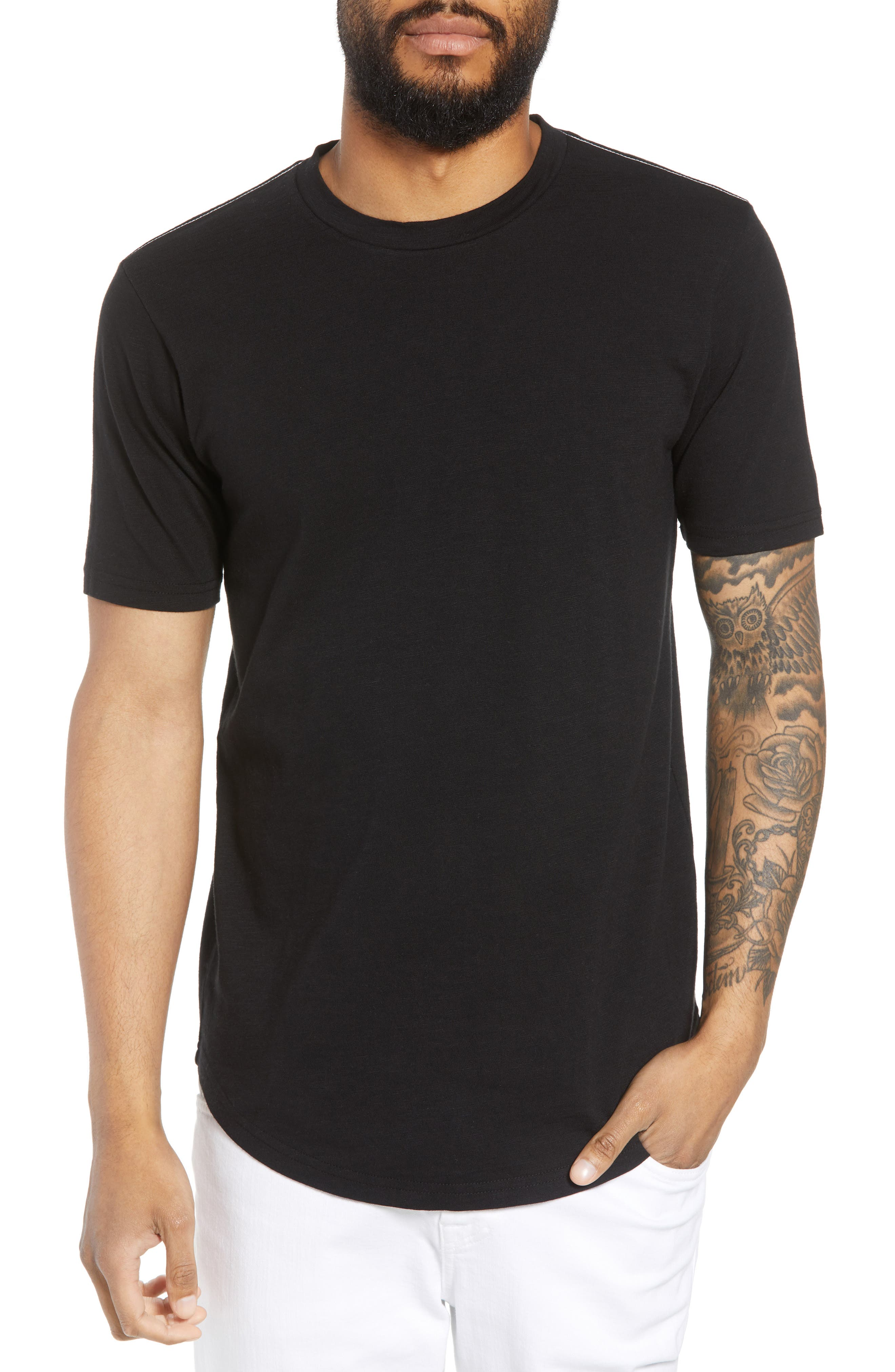 Scallop Hem Slub Crewneck T-Shirt,                         Main,                         color, 001