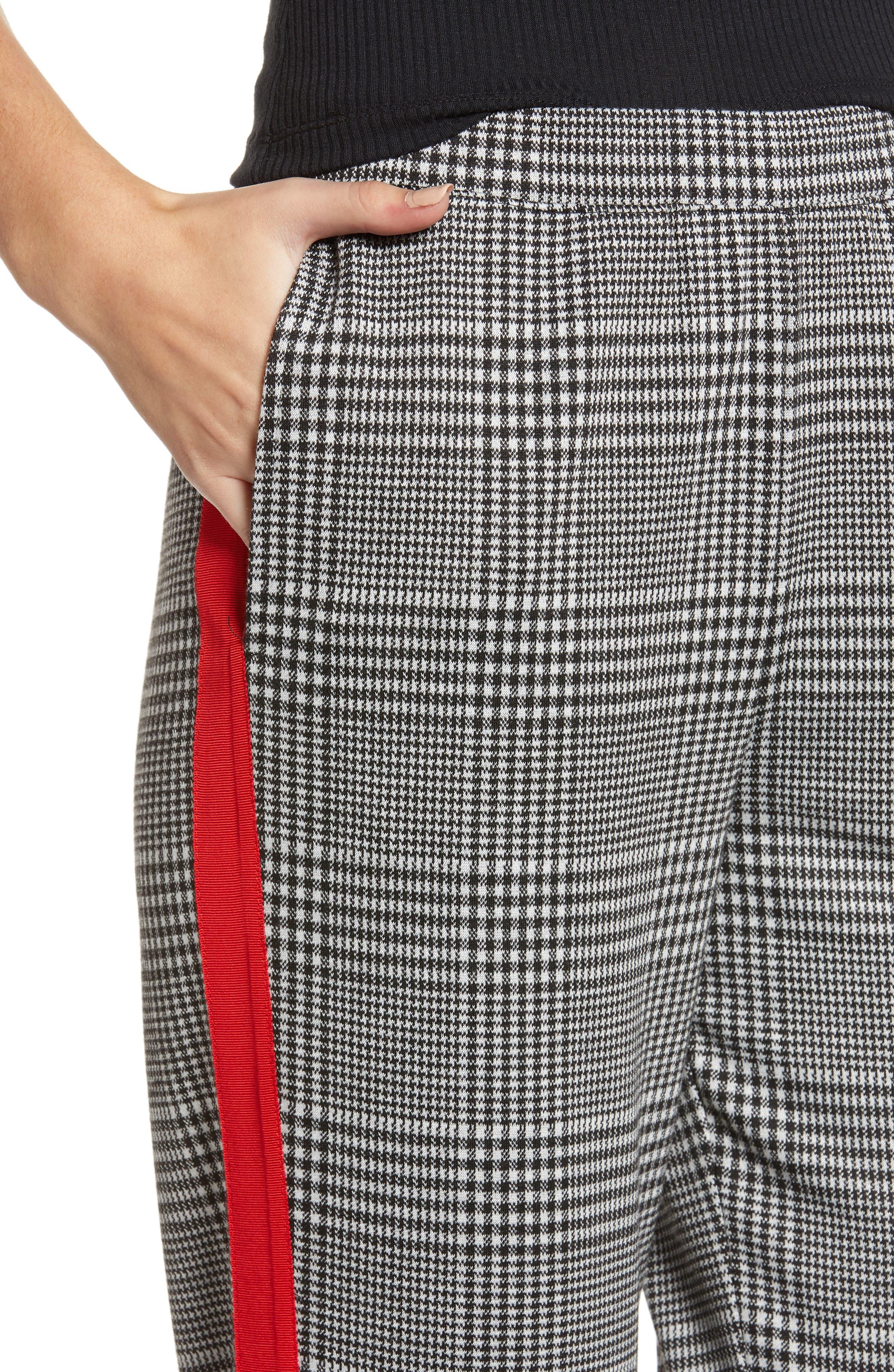Side Stripe Glen Plaid Pants,                             Alternate thumbnail 4, color,                             BLACK GLEN CHECK