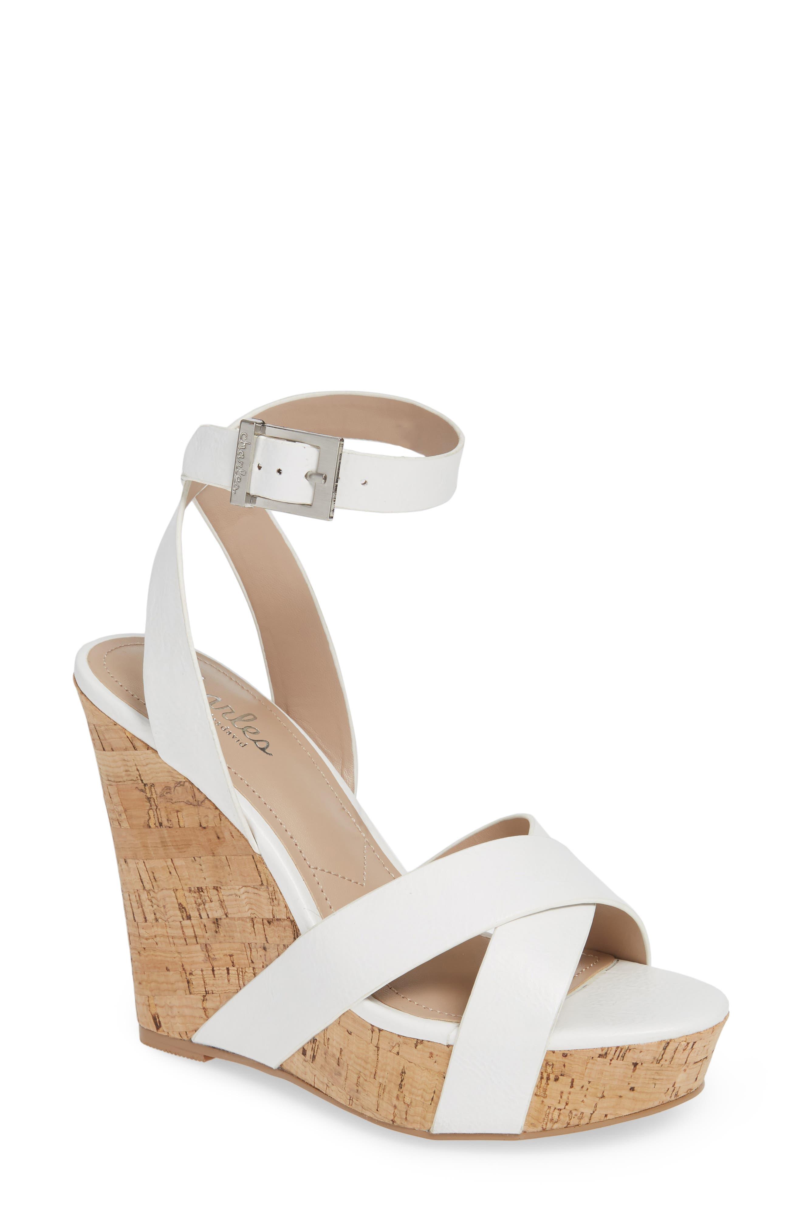 Charles By Charles David Aleck Platform Wedge Sandal, White