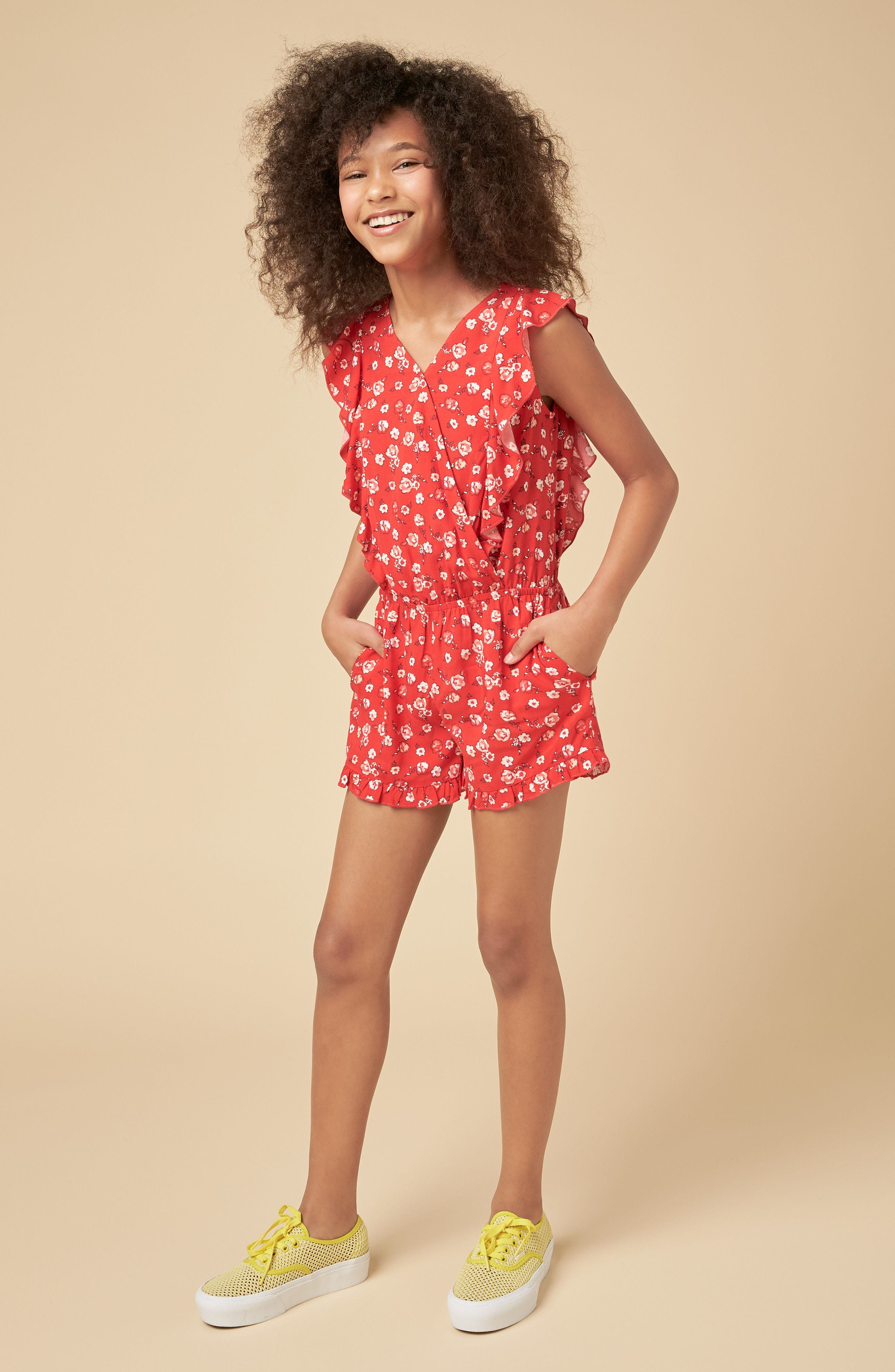 Surplice Print Romper,                             Alternate thumbnail 3, color,                             600