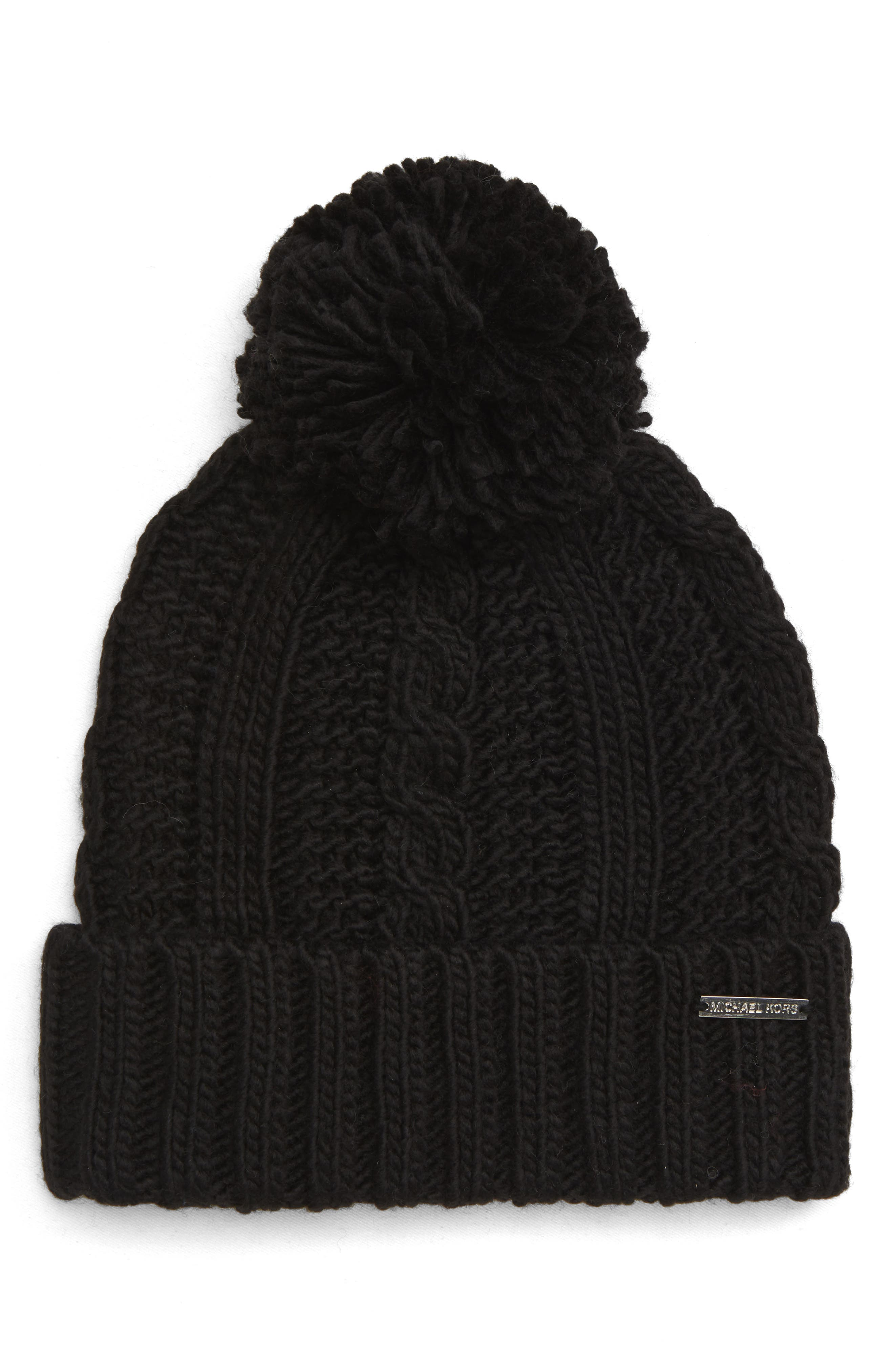 Cable Knit Hat,                         Main,                         color, BLACK/ SILVER