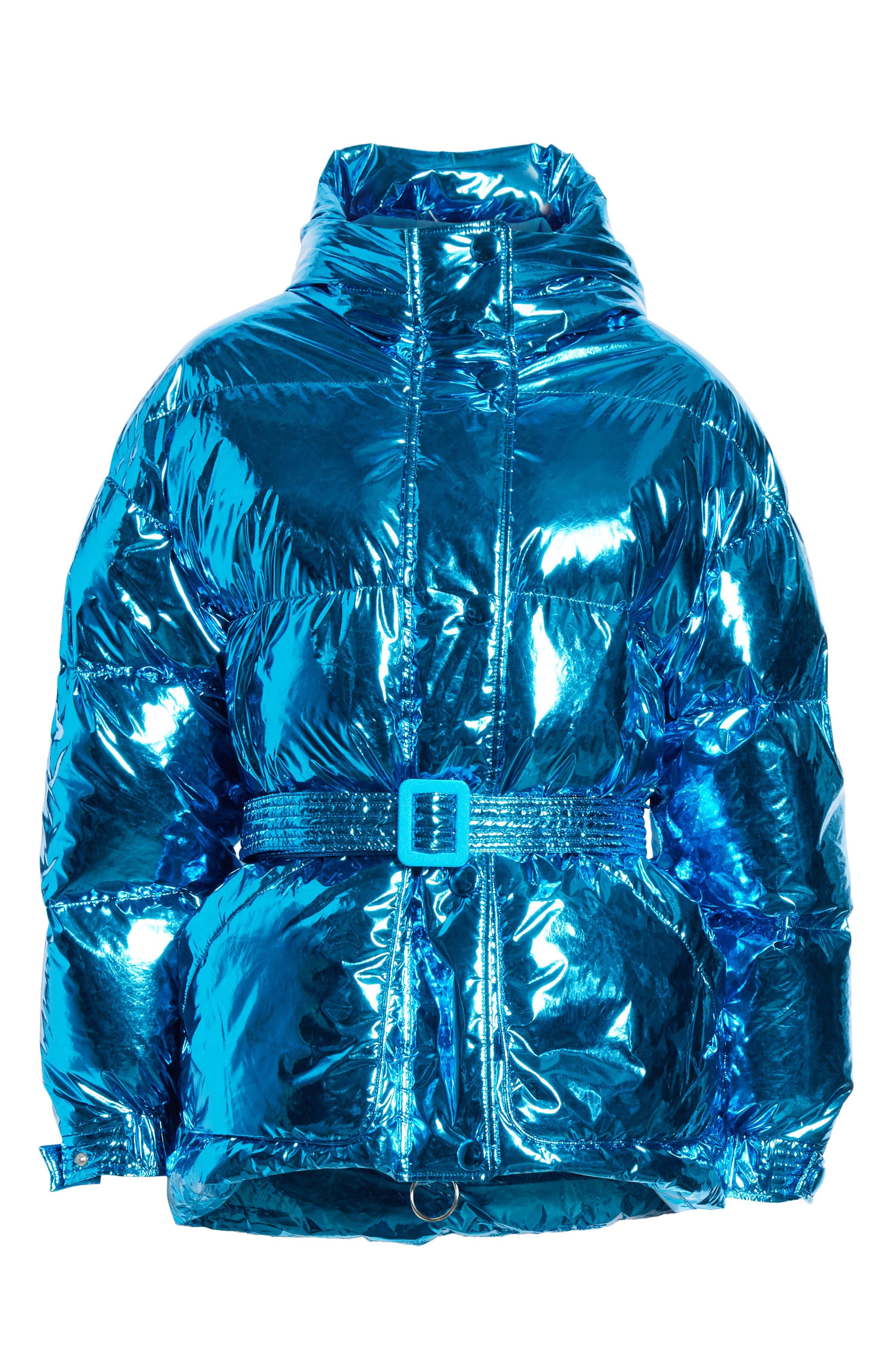 Michelin Hooded Down Puffer Coat,                             Alternate thumbnail 5, color,                             BLUE FOIL