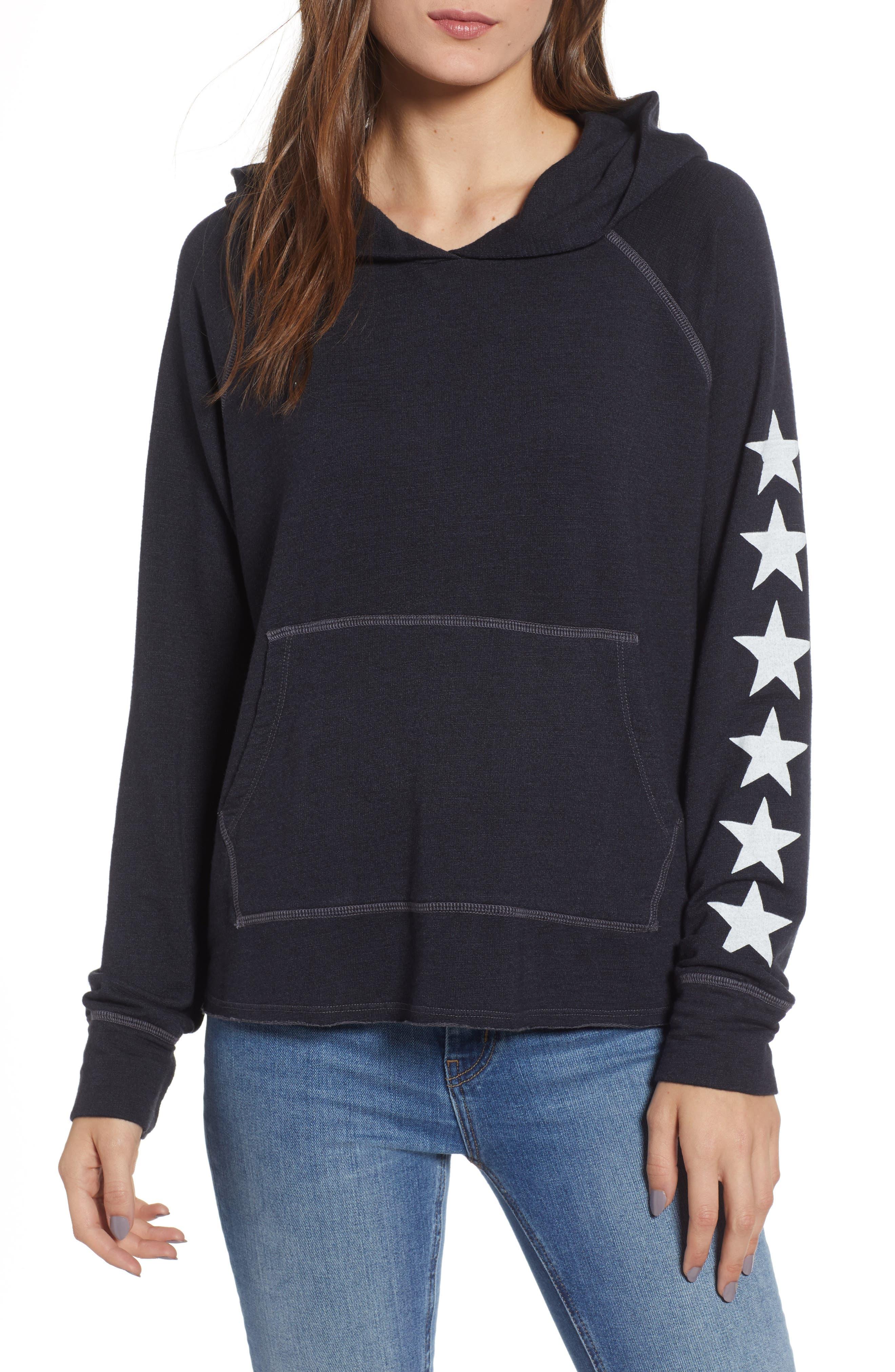Star Sleeves Crop Hoodie,                         Main,                         color, SOFT BLACK
