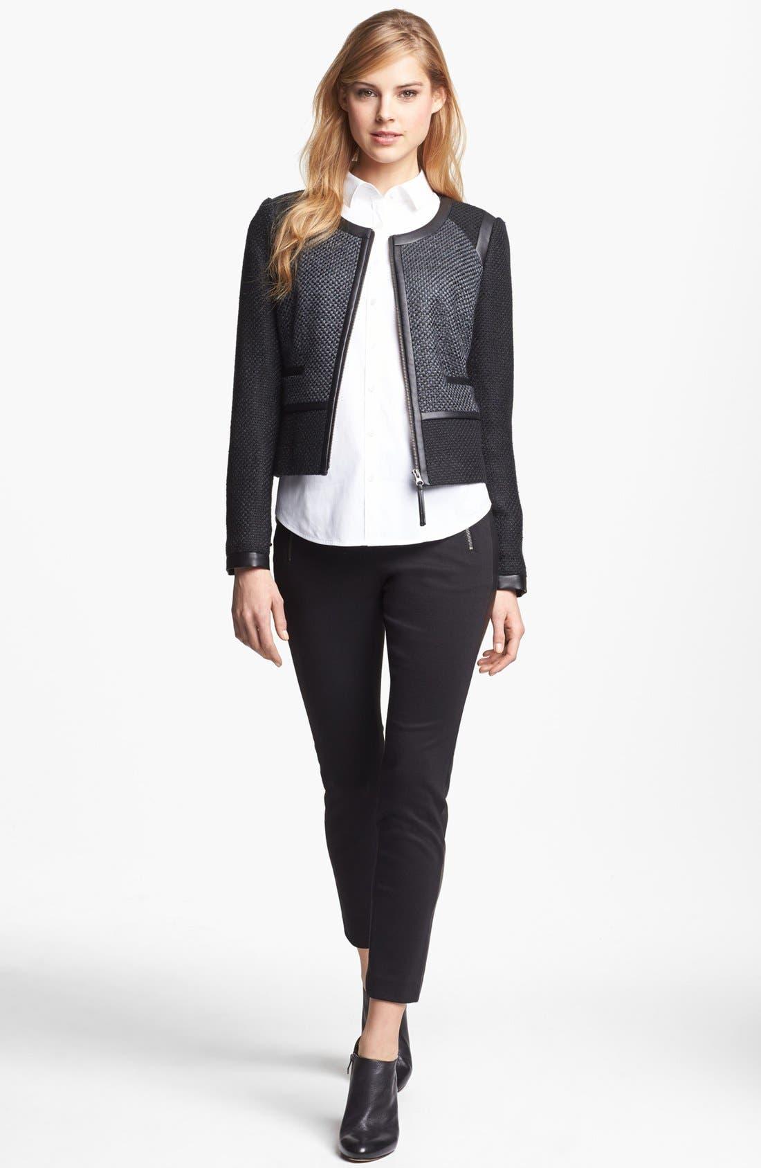 Faux Leather Trim Tweed Jacket,                             Main thumbnail 1, color,                             001