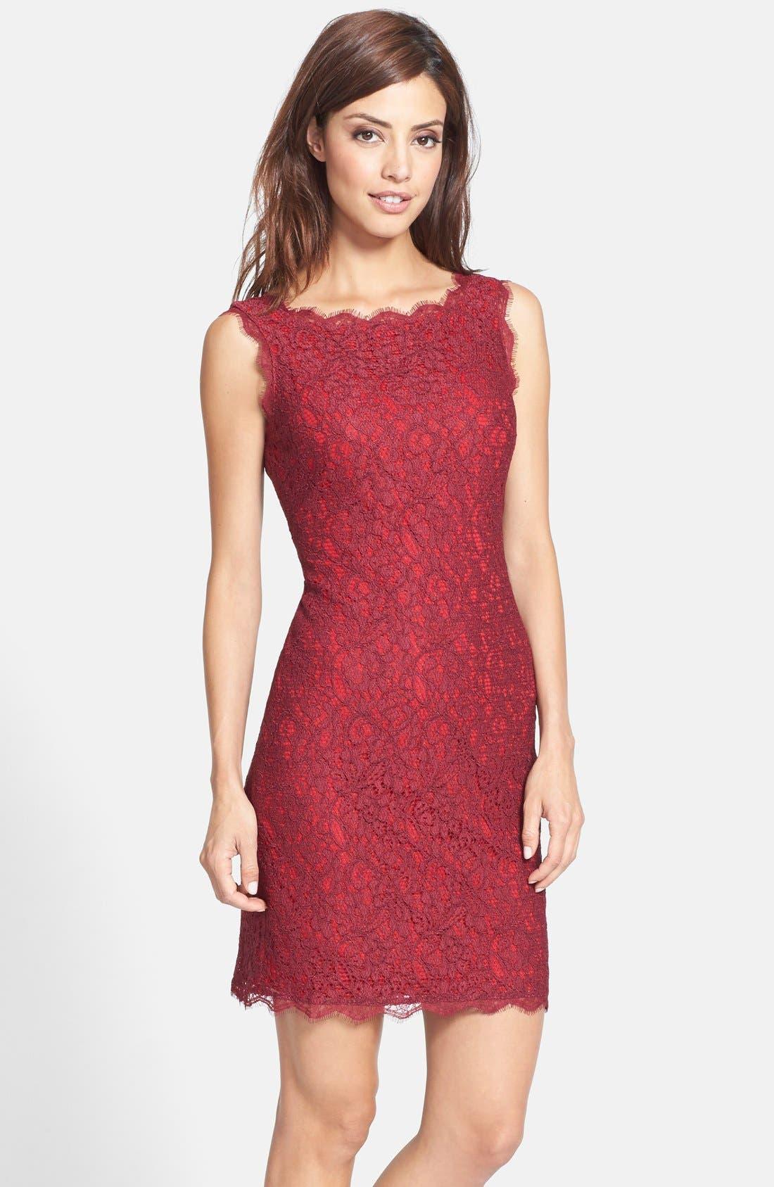 Boatneck Lace Sheath Dress,                             Main thumbnail 23, color,