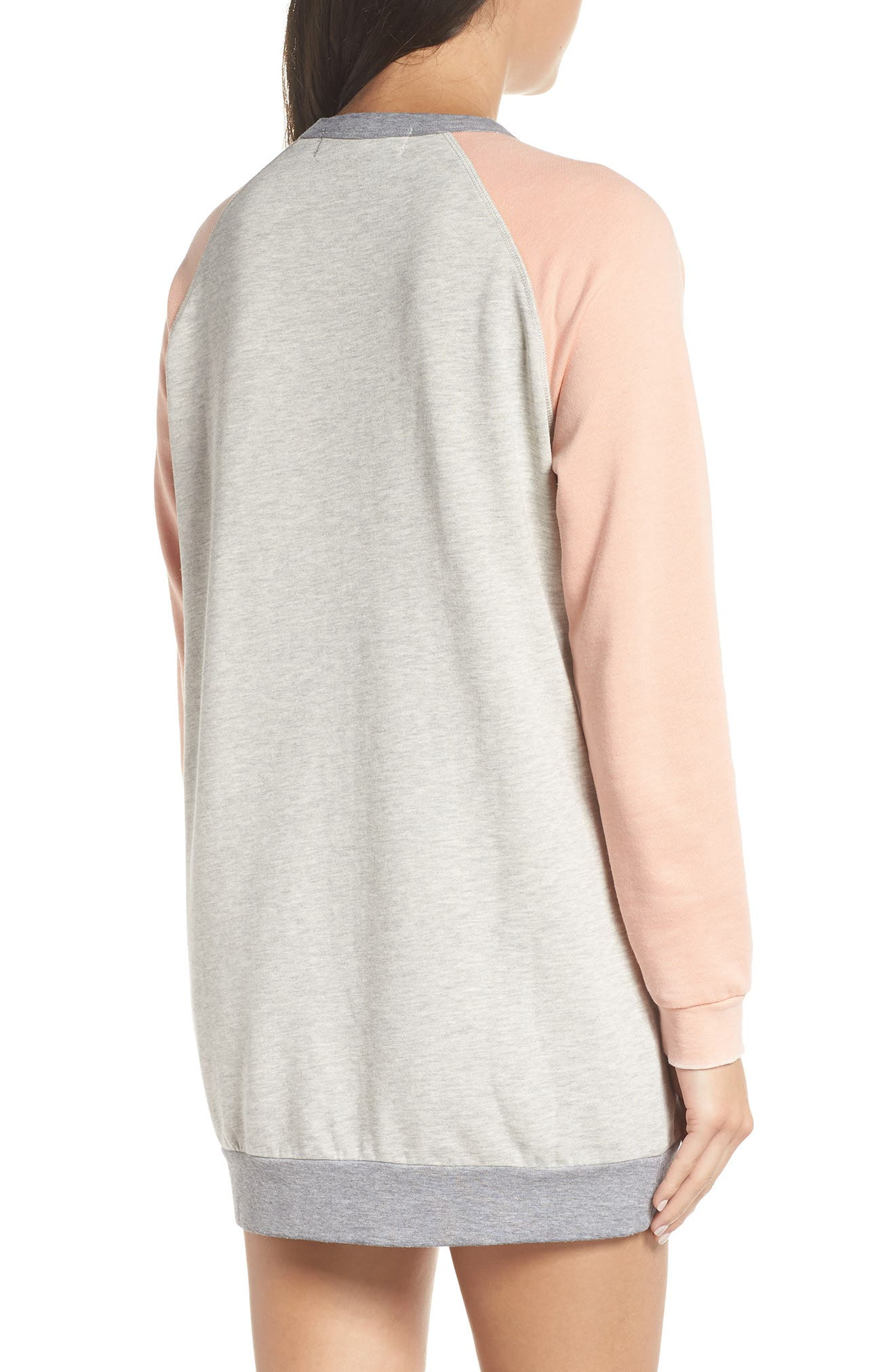 Lounge Sweatshirt Dress,                             Alternate thumbnail 2, color,                             PEBBLE HEATHER / PEACH