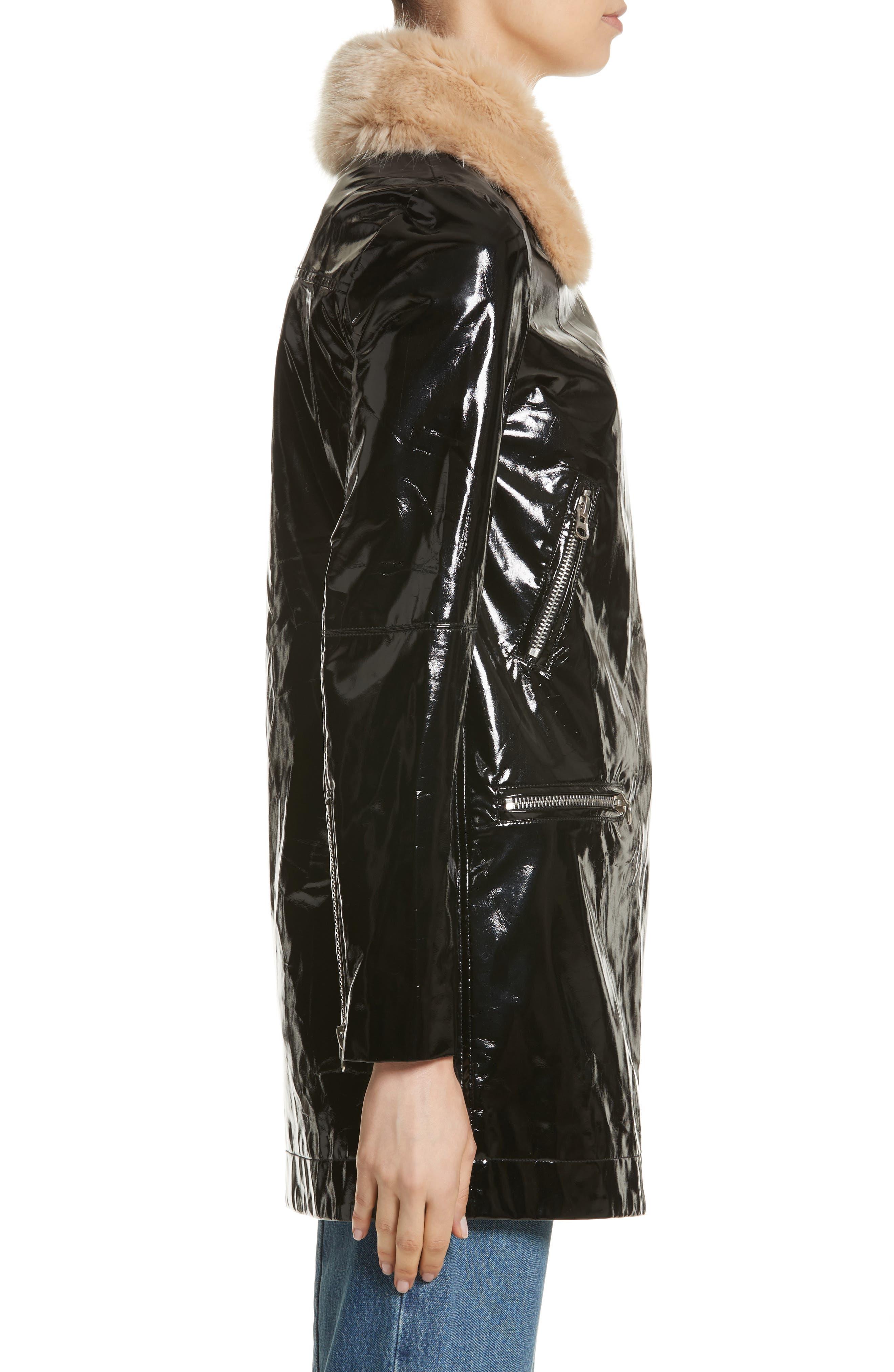 Olwen Faux Leather Long Biker Coat with Faux Fur Collar,                             Alternate thumbnail 4, color,                             001