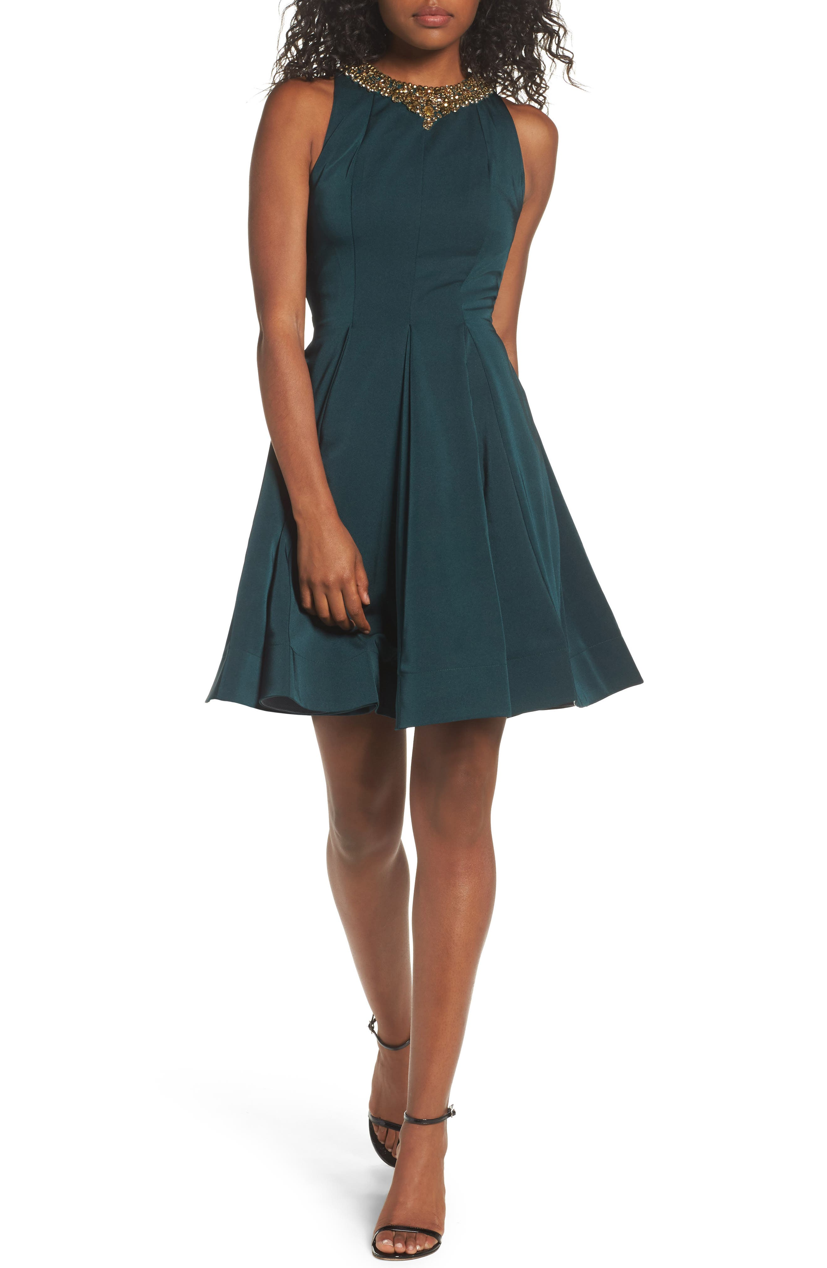 Embellished Fit & Flare Dress,                         Main,                         color, EMERALD