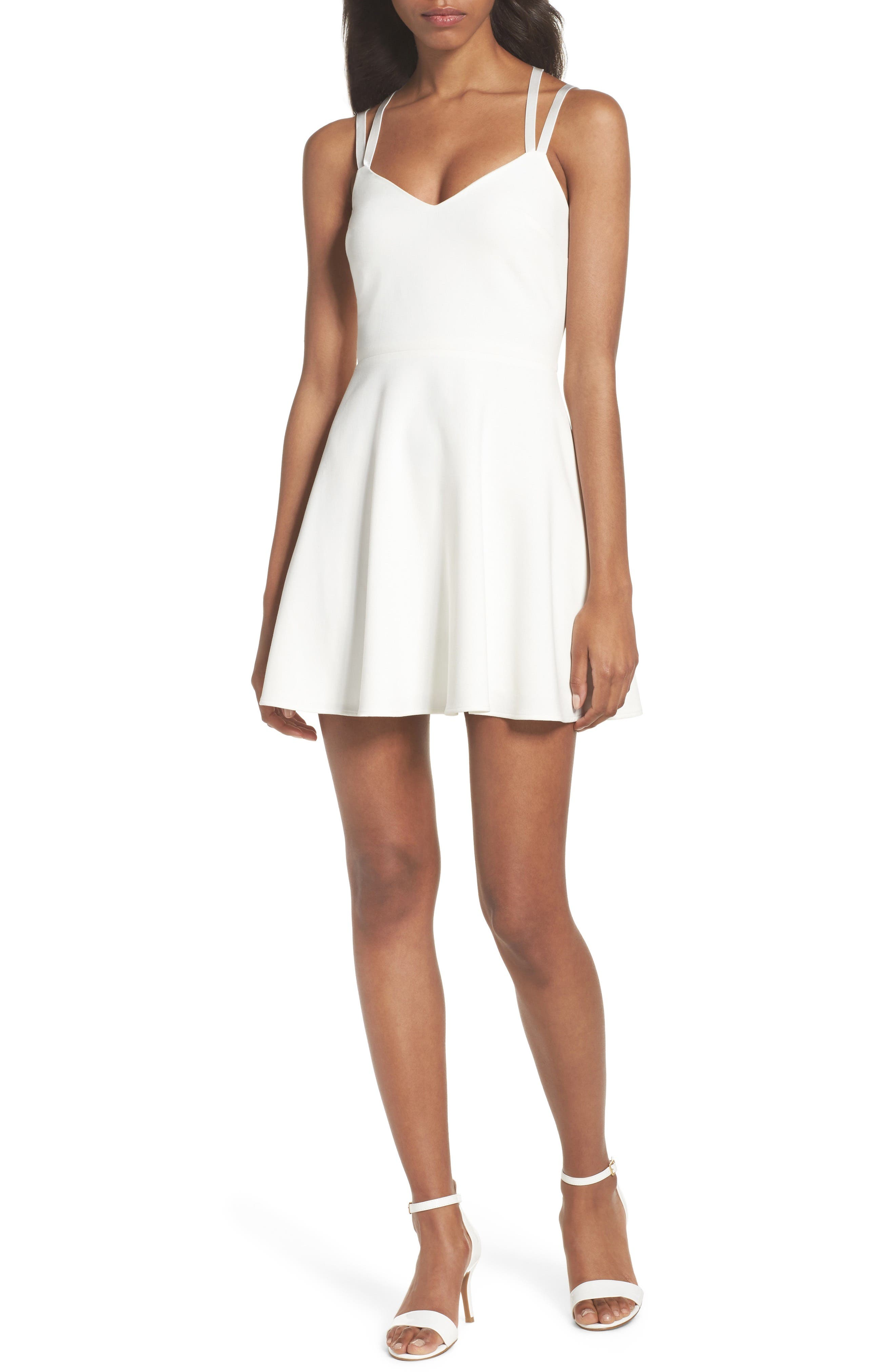 French Connection Whisper Light Fit & Flare Dress, White