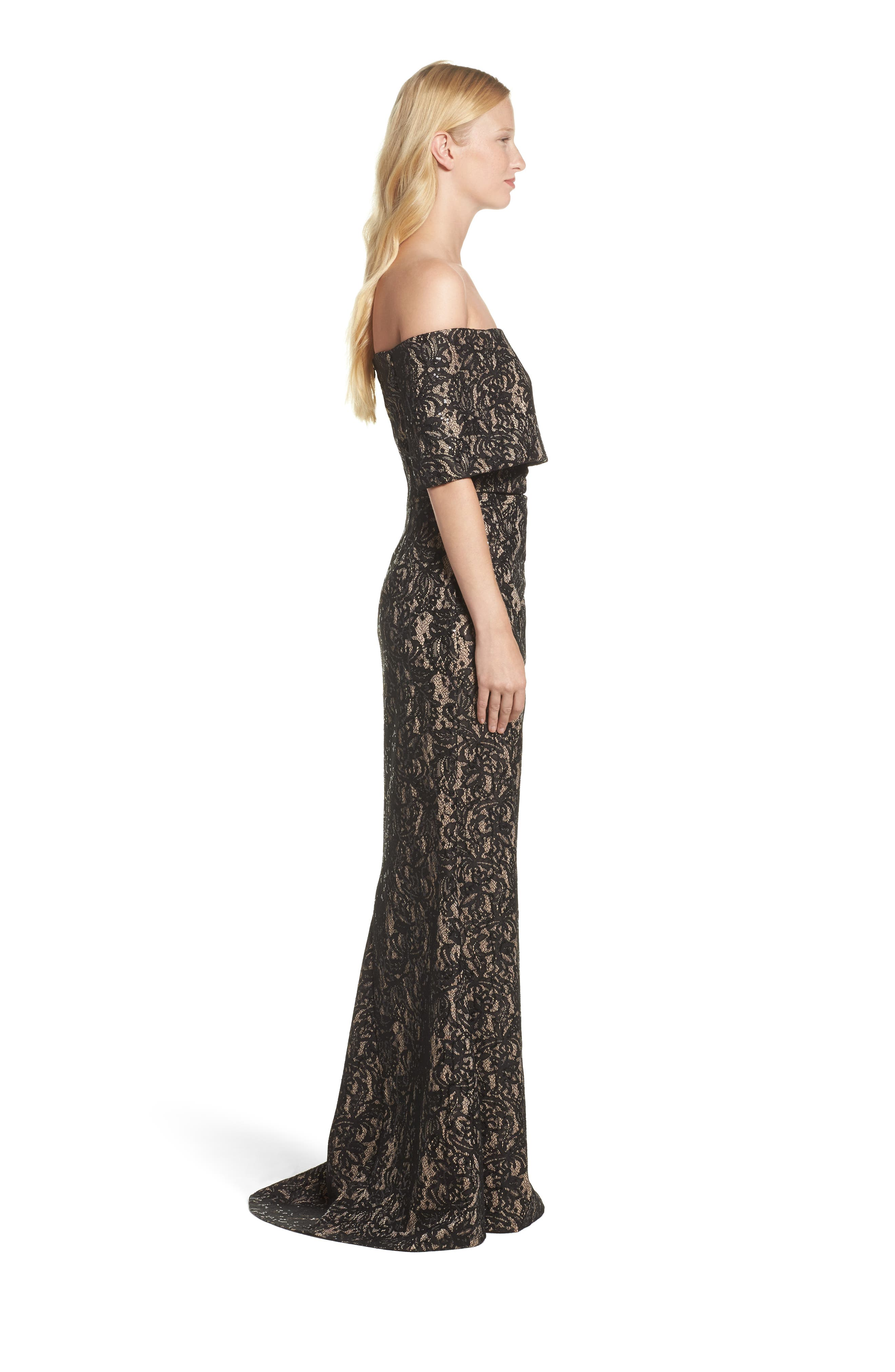VINCE CAMUTO,                             Sequin Off the Shoulder Gown,                             Alternate thumbnail 3, color,                             BLACK/ TAN