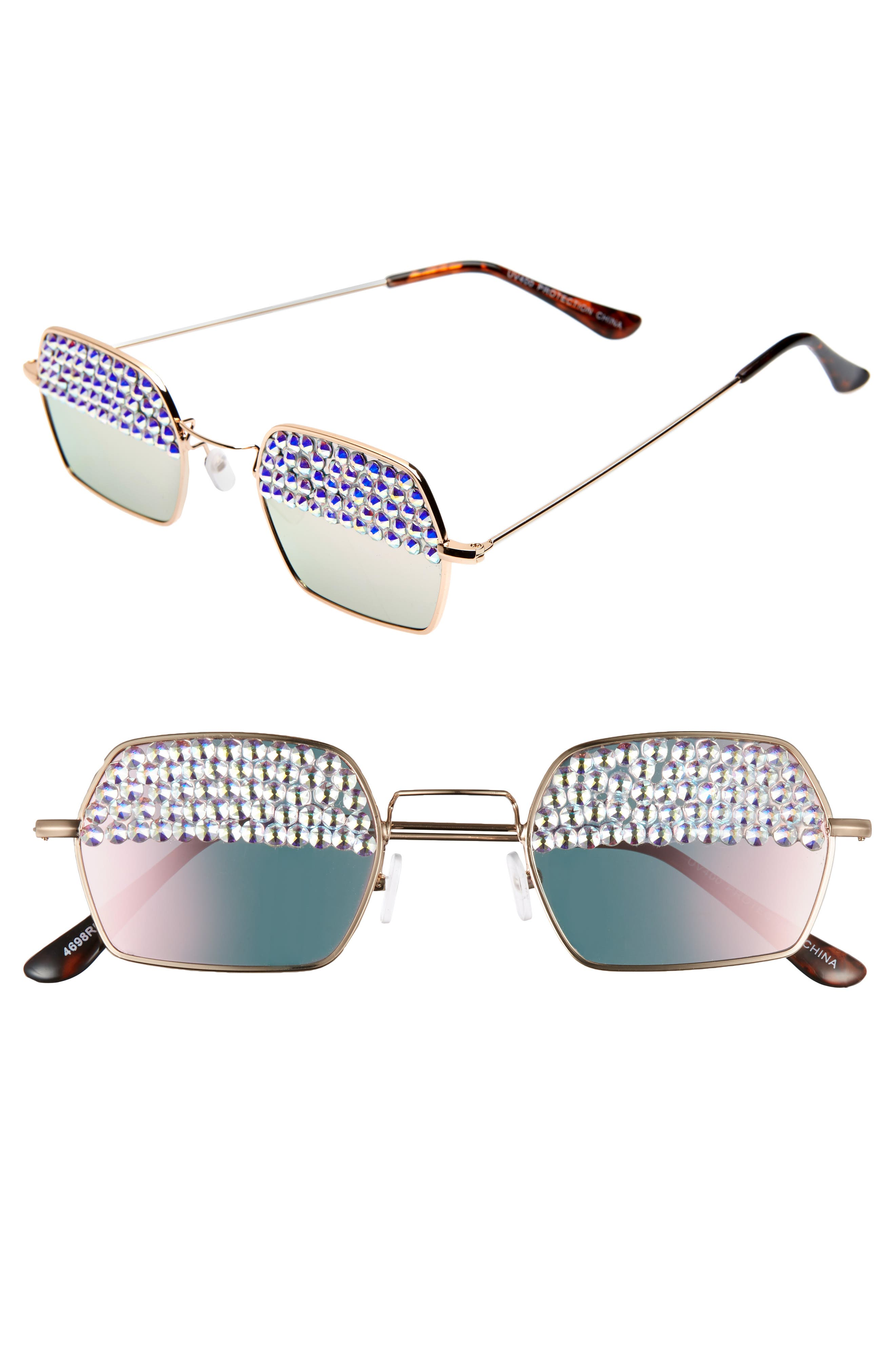 Rad + Refined Crystal Lens Square Sunglasses - Gold/ Crystal