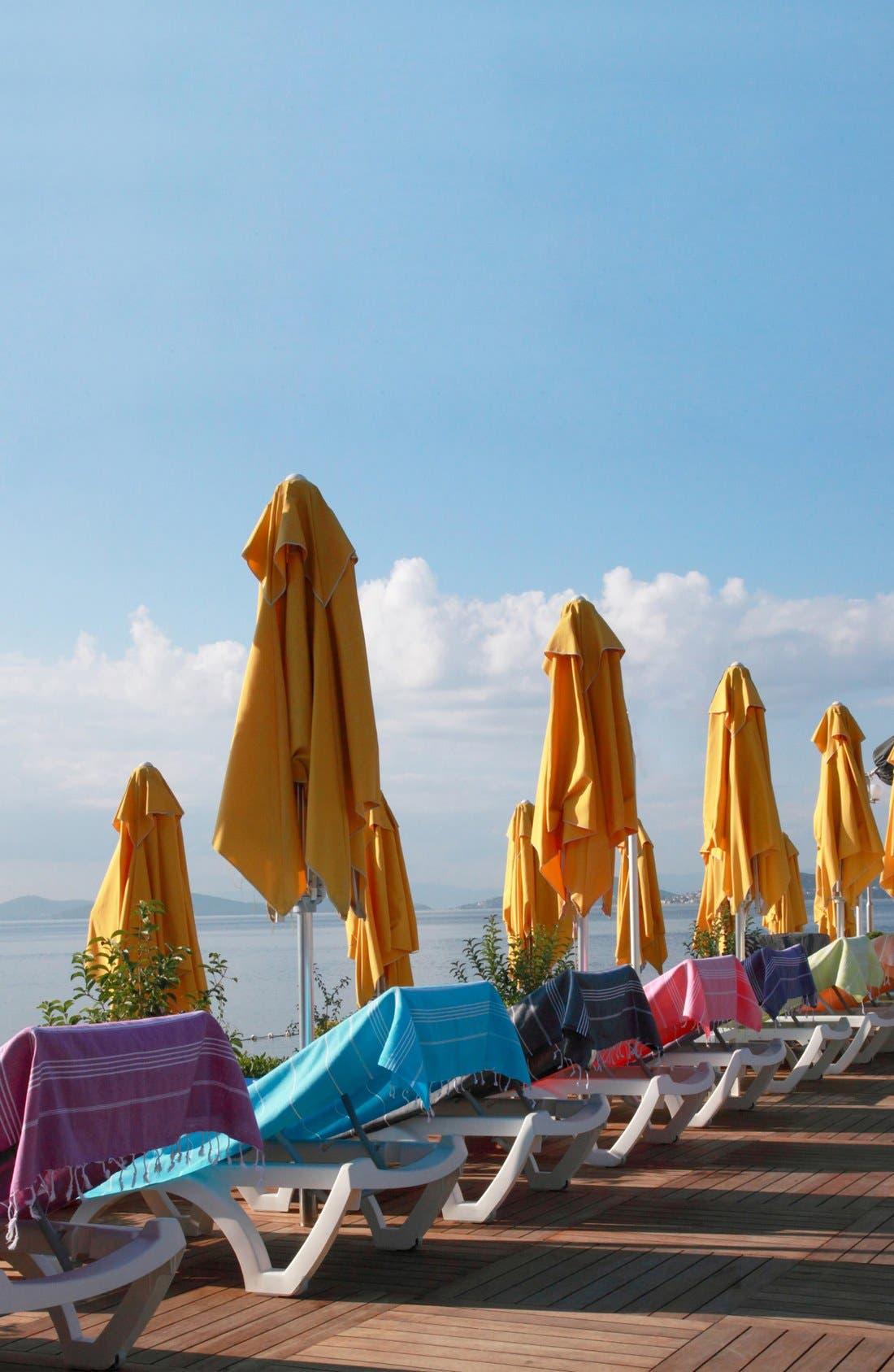 'Lucky' Turkish Pestemal Towel,                             Alternate thumbnail 4, color,                             SKY BLUE