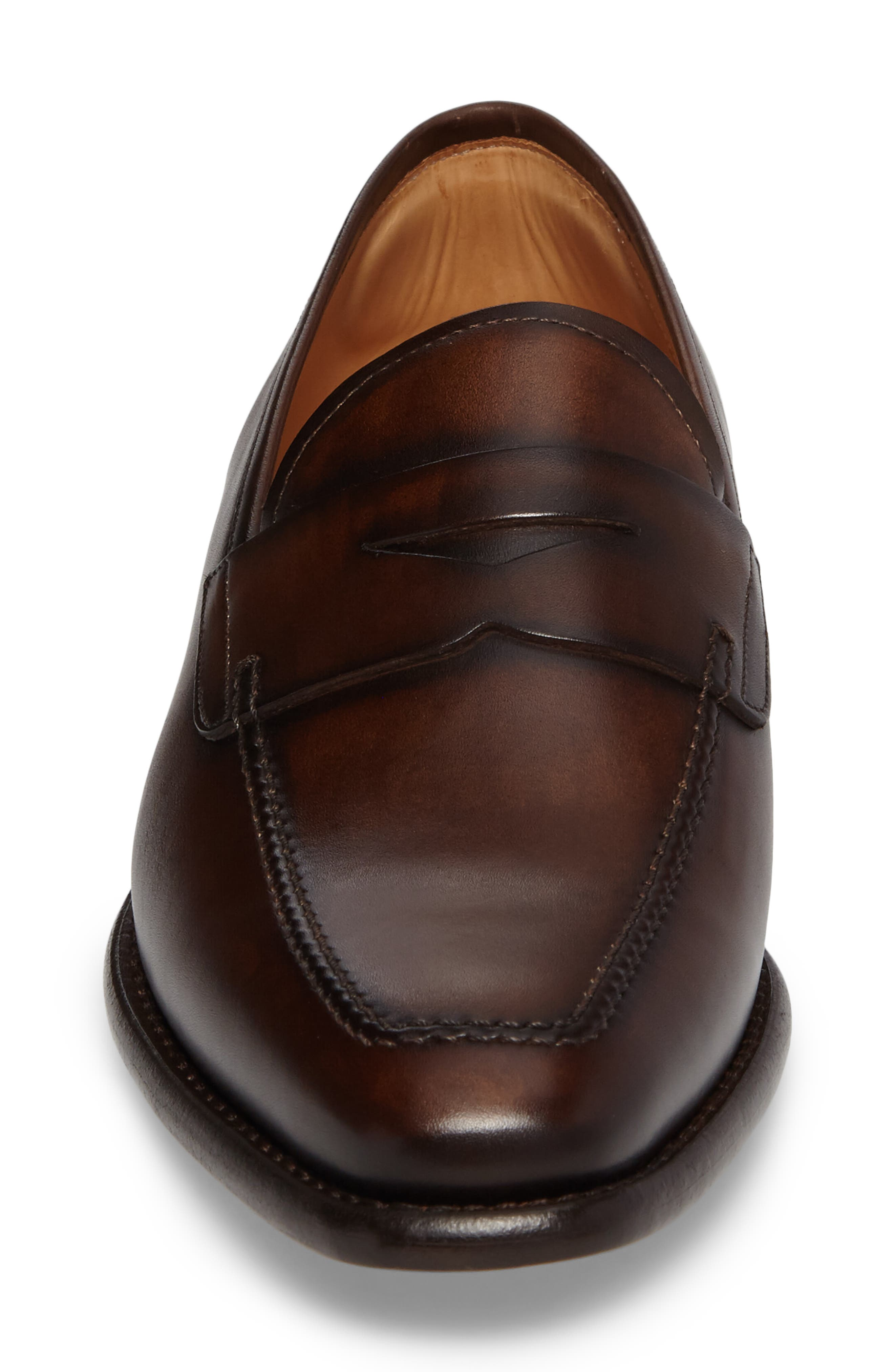 Claude Penny Loafer,                             Alternate thumbnail 4, color,                             BROWN LEATHER