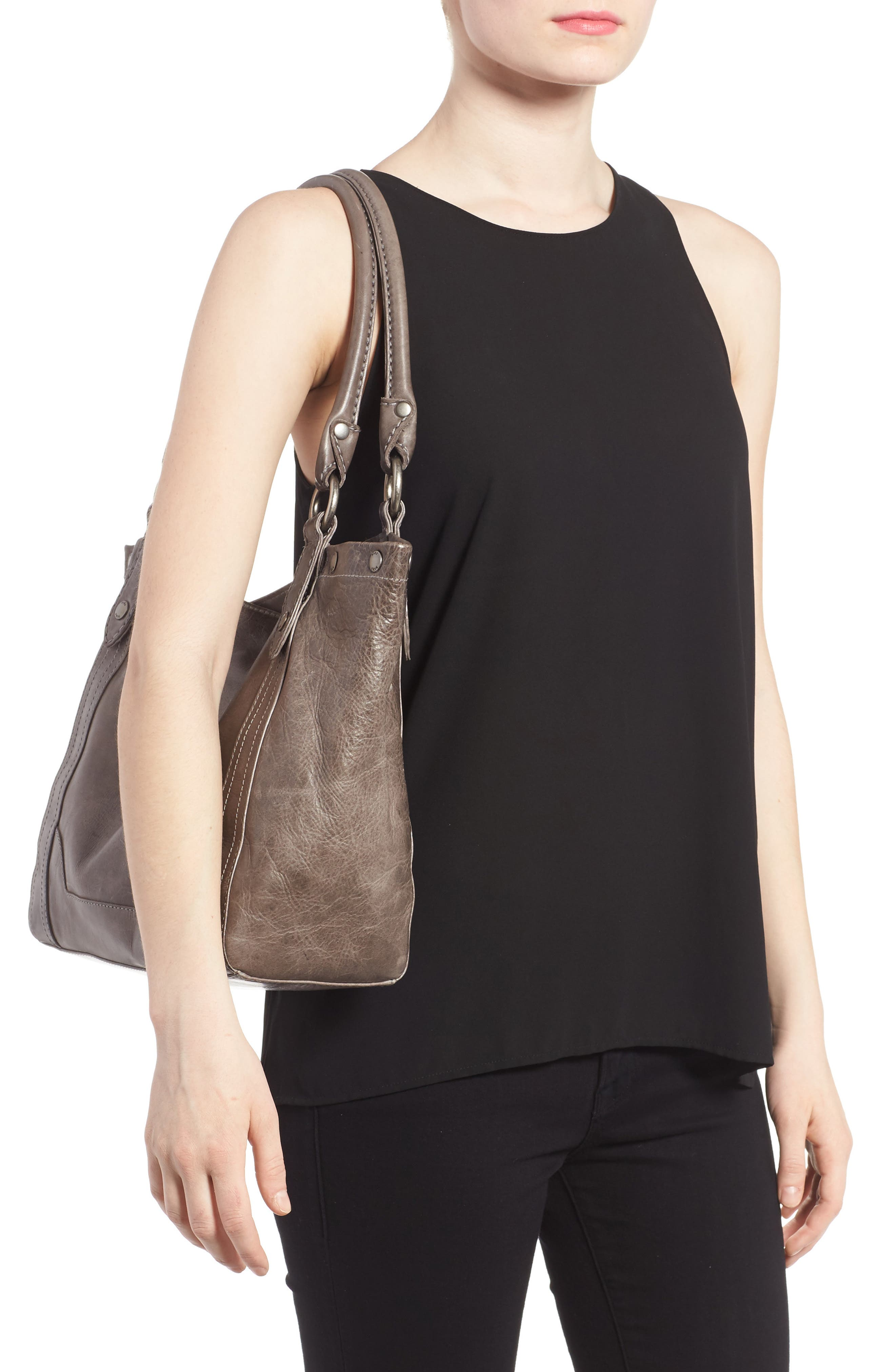 Melissa Leather Shoulder Bag,                             Alternate thumbnail 2, color,                             ICE
