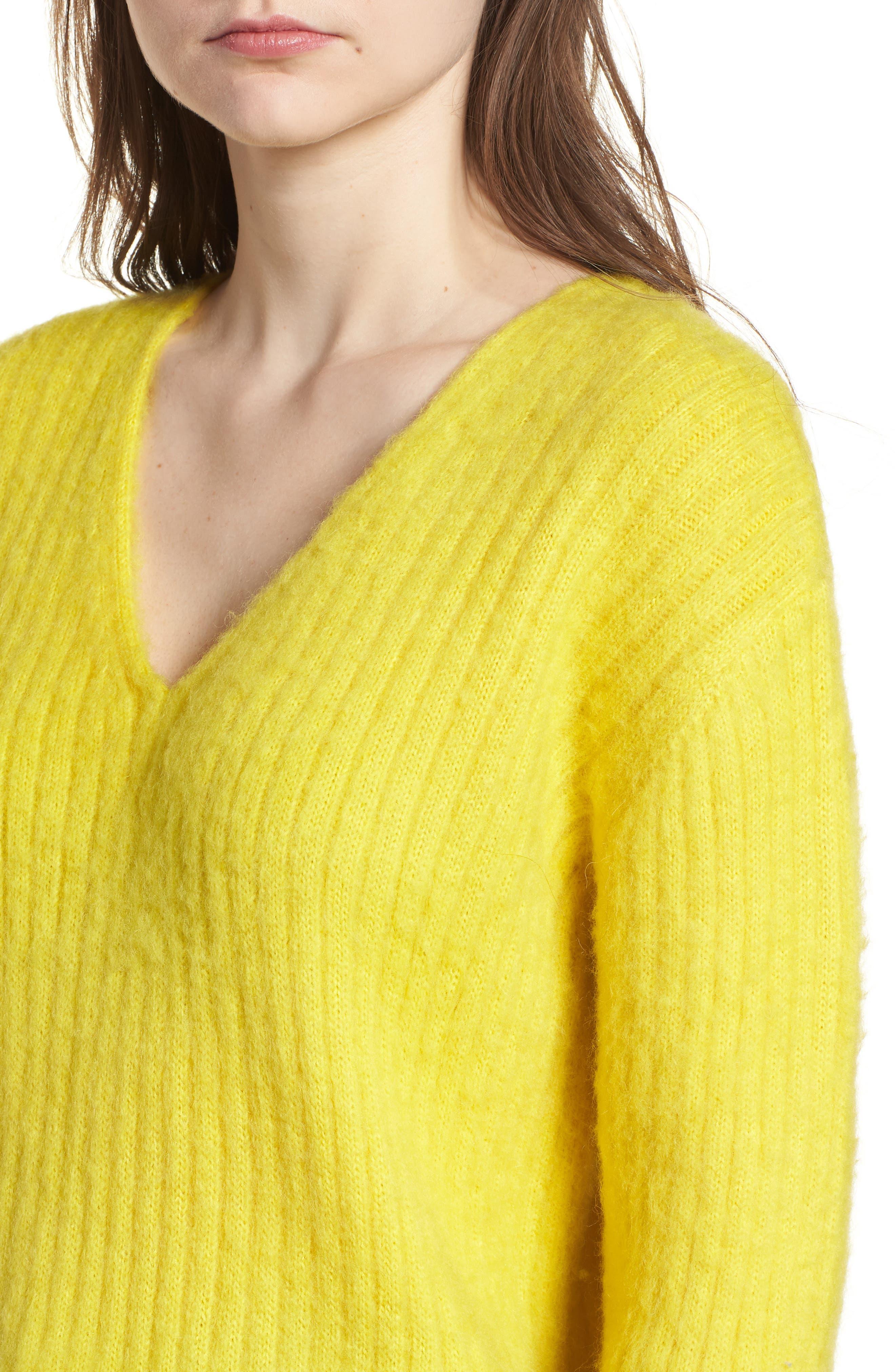 V-Neck Rib Sweater,                             Alternate thumbnail 4, color,                             700